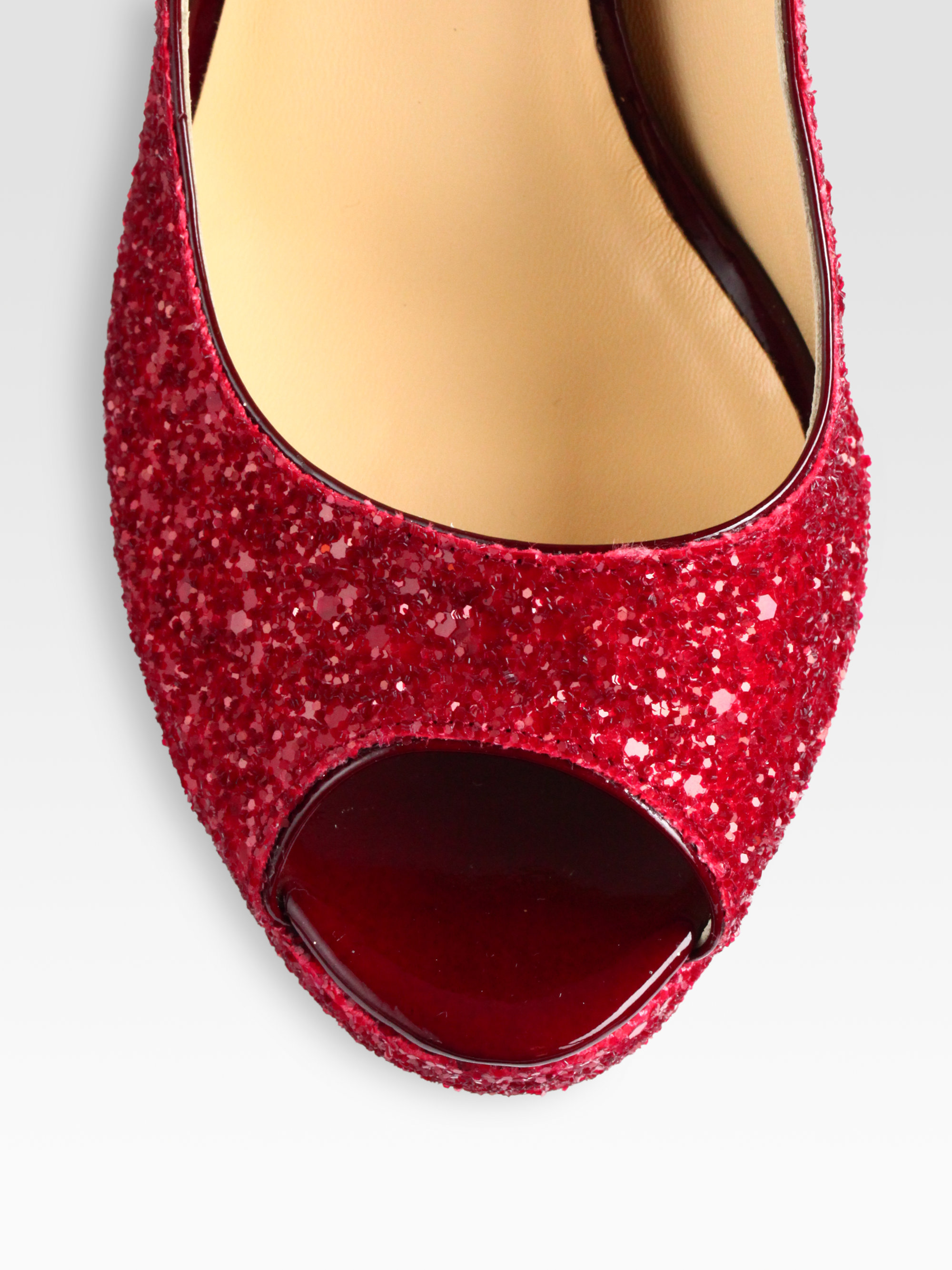 77d1dee70a05 Lyst - Jimmy Choo Crown Glittercoated Leather Peep Toe Pumps in Red