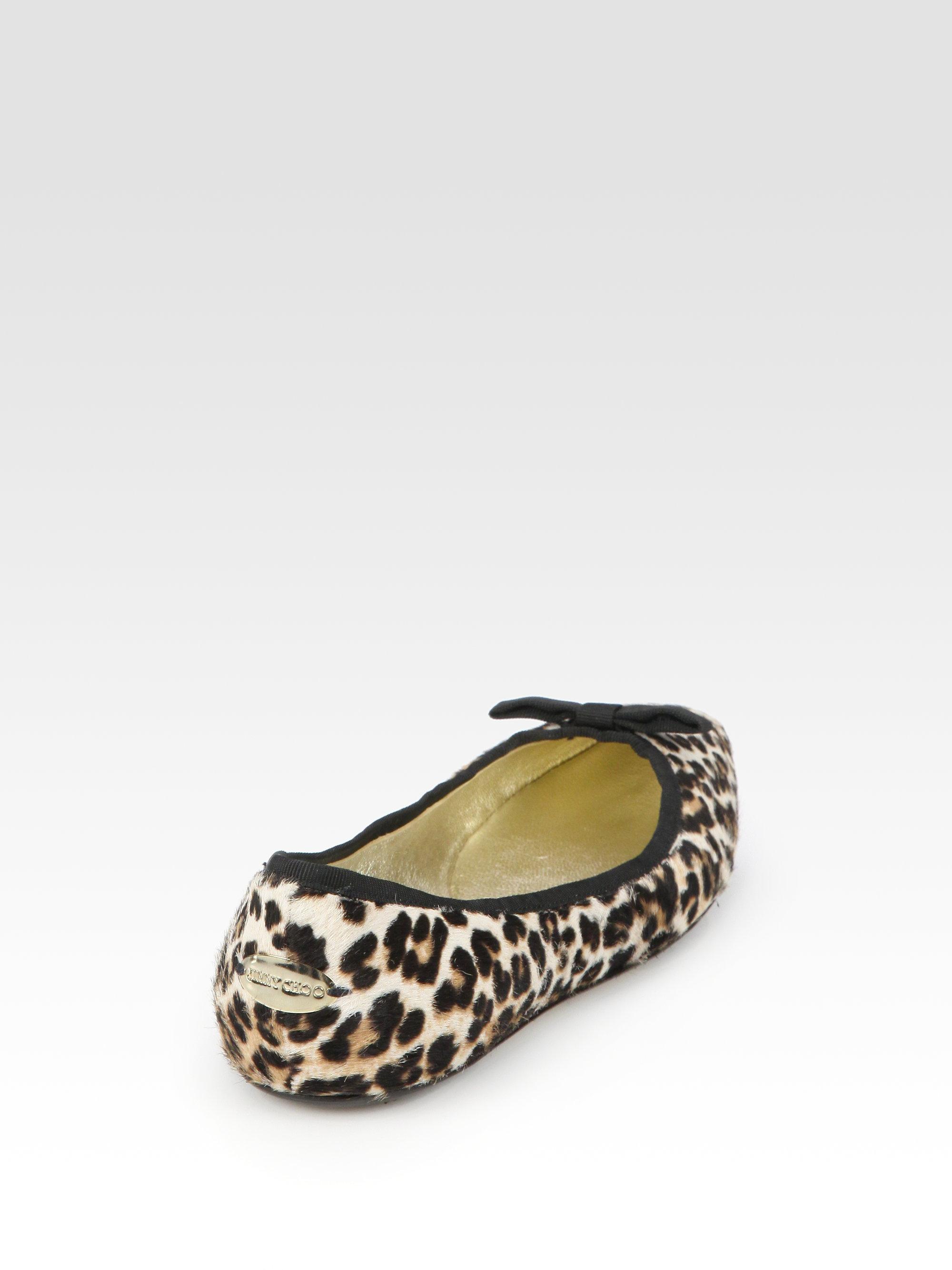 62dff67fbc82 ... cheap lyst jimmy choo leopard print calf hair ballet flats in natural  c79bb c894d