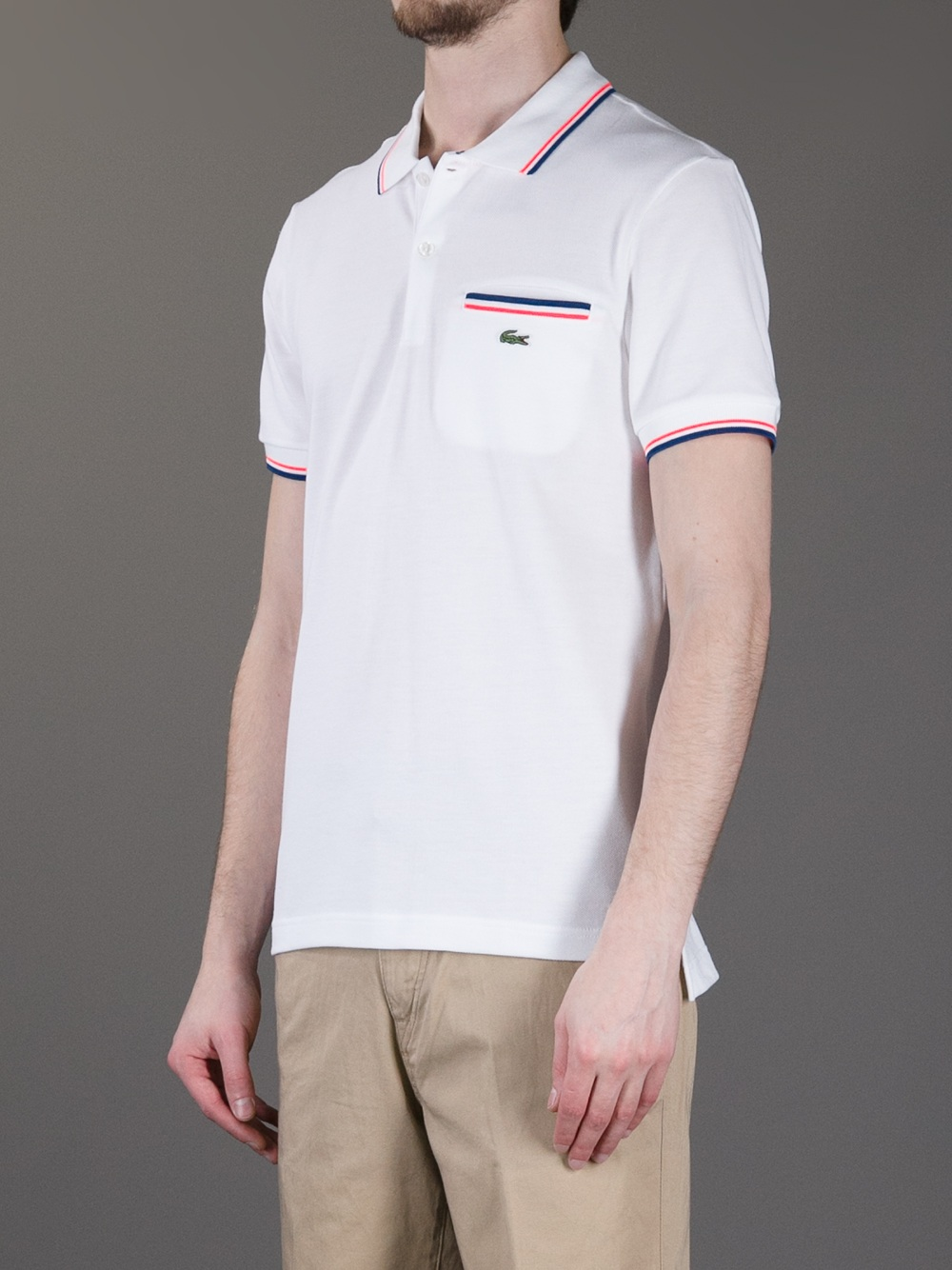 lacoste l ive polo shirt with pocket in white for men lyst. Black Bedroom Furniture Sets. Home Design Ideas