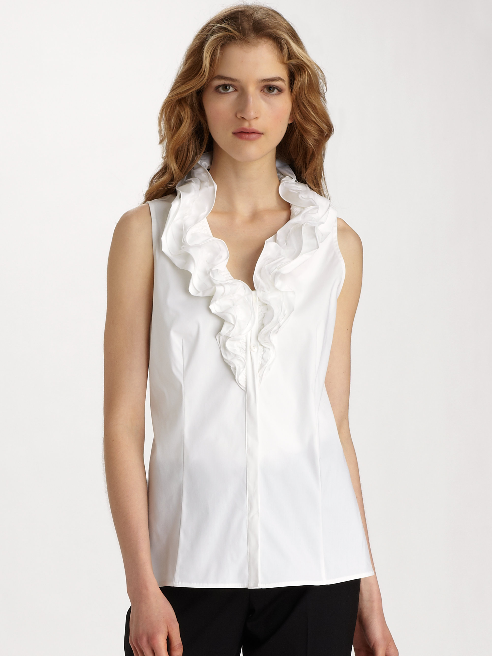 Ruffle Neck Sleeveless Blouse 51