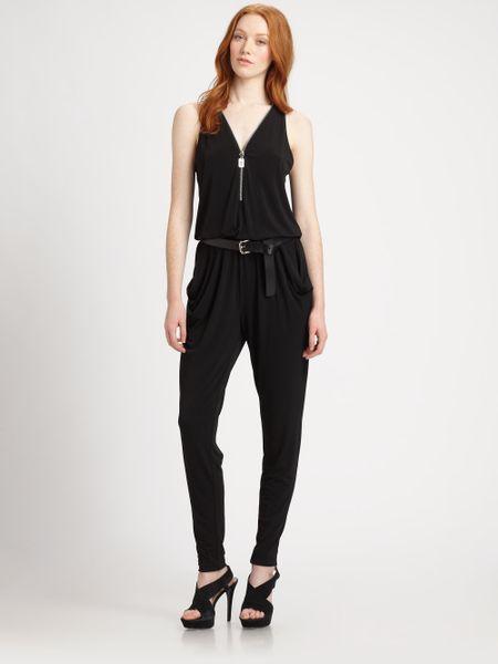 michael michael kors zipfront jumpsuit in black lyst. Black Bedroom Furniture Sets. Home Design Ideas