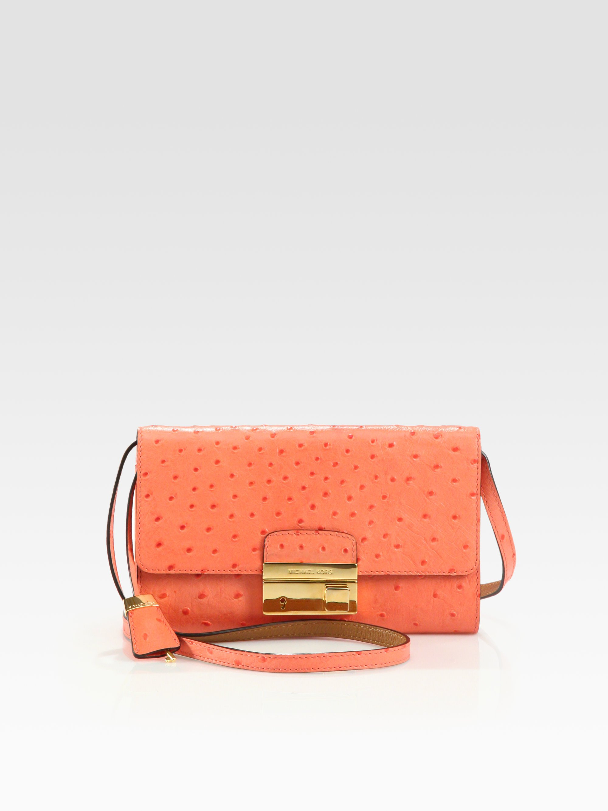 Gia Ostrich Stamped Leather Clutch