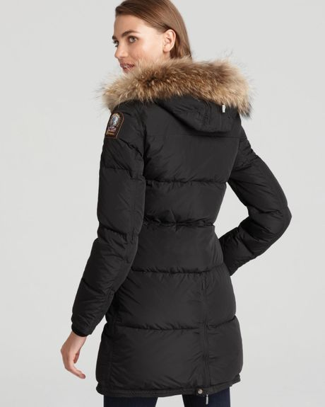 Parajumpers Long Bear Down Coat With Fur Hood In Black Lyst