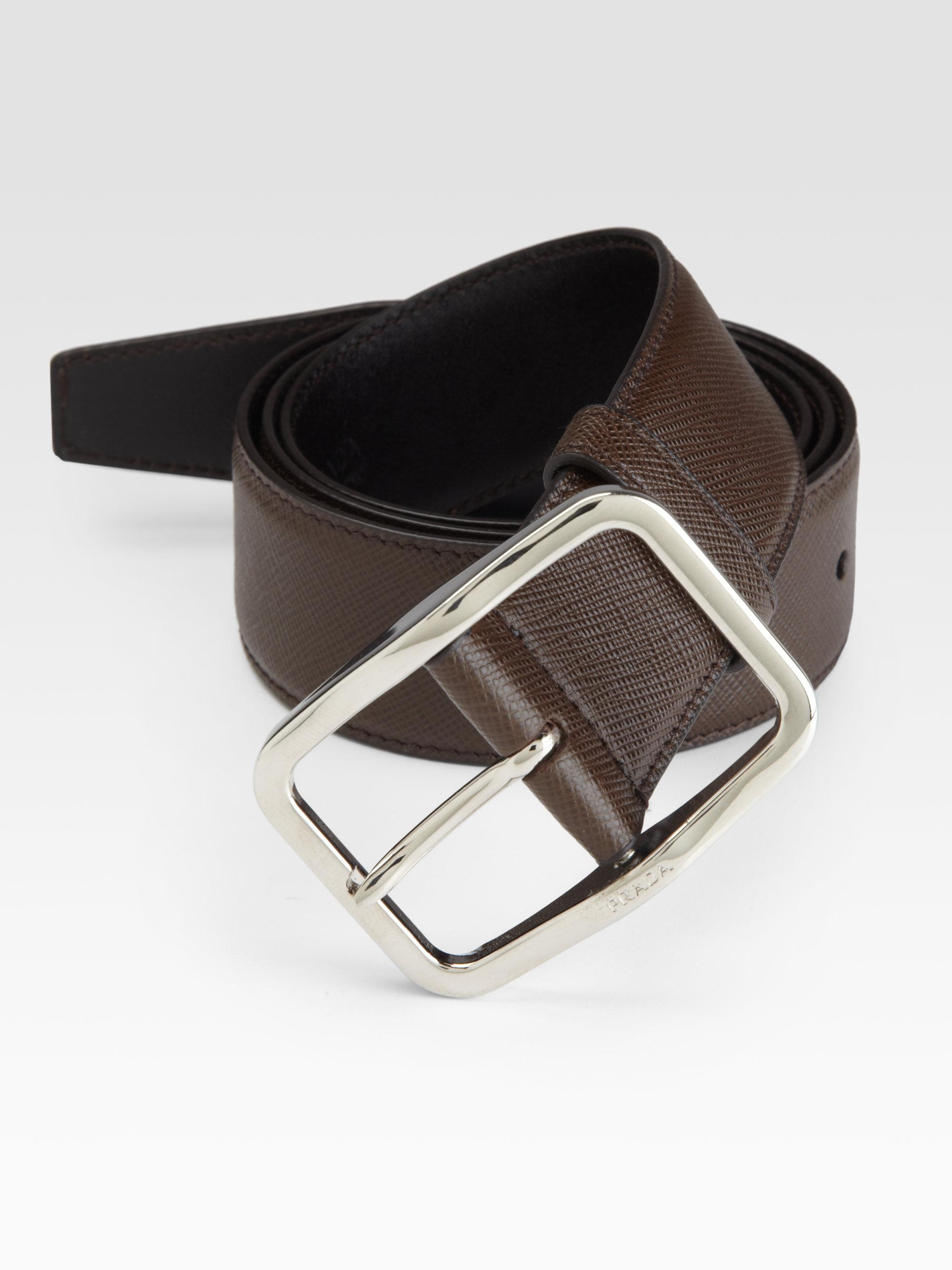 1a99d3da2709f ... new zealand lyst prada saffiano leather belt in brown for men 9c3a4  f0e79