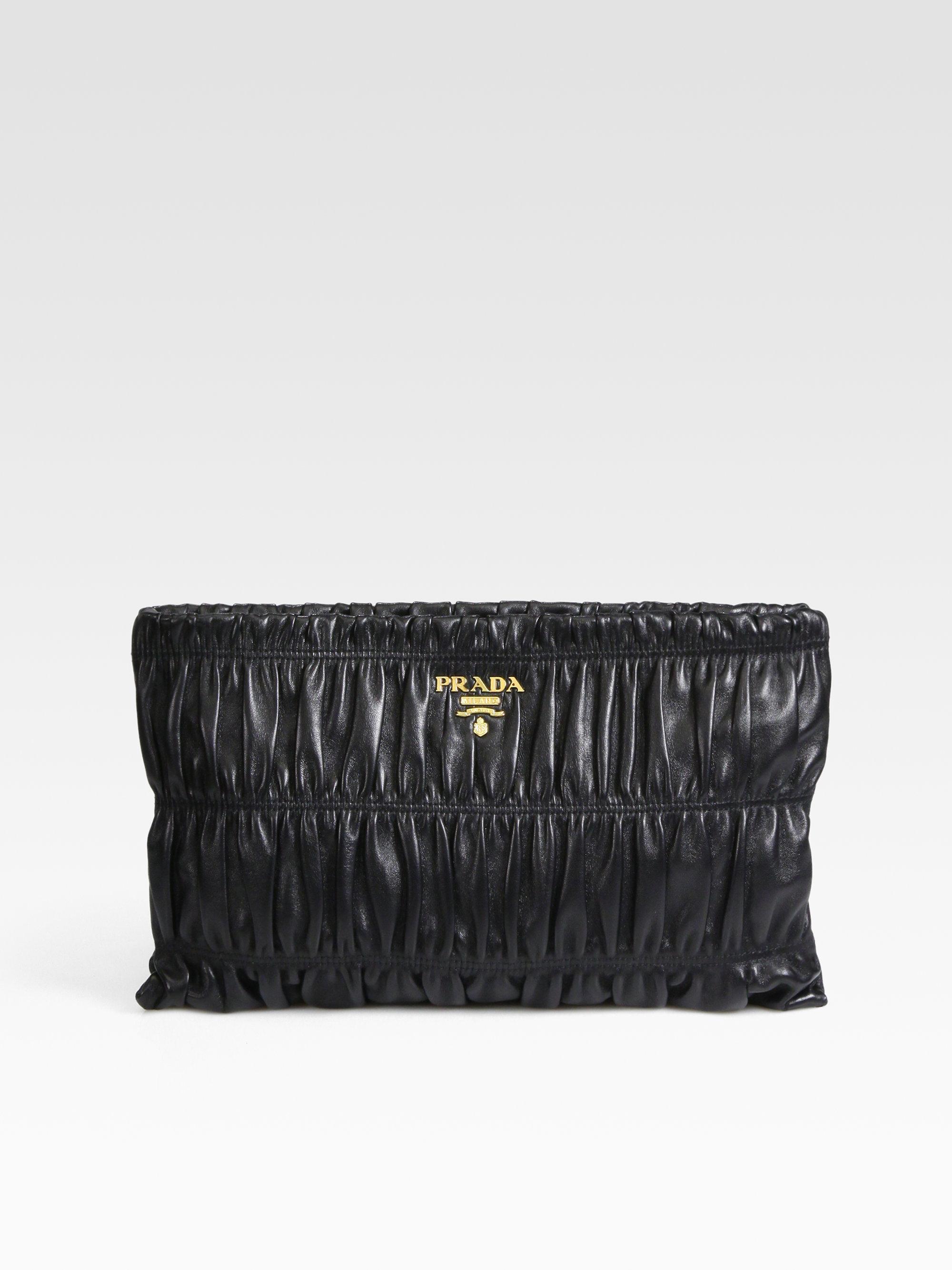 small prada bag - Prada Nappa Gaufre Large Clutch in Black (nero-black) | Lyst