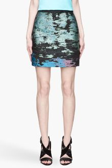 Proenza Schouler Teal and Black Woven Mini Skirt - Lyst