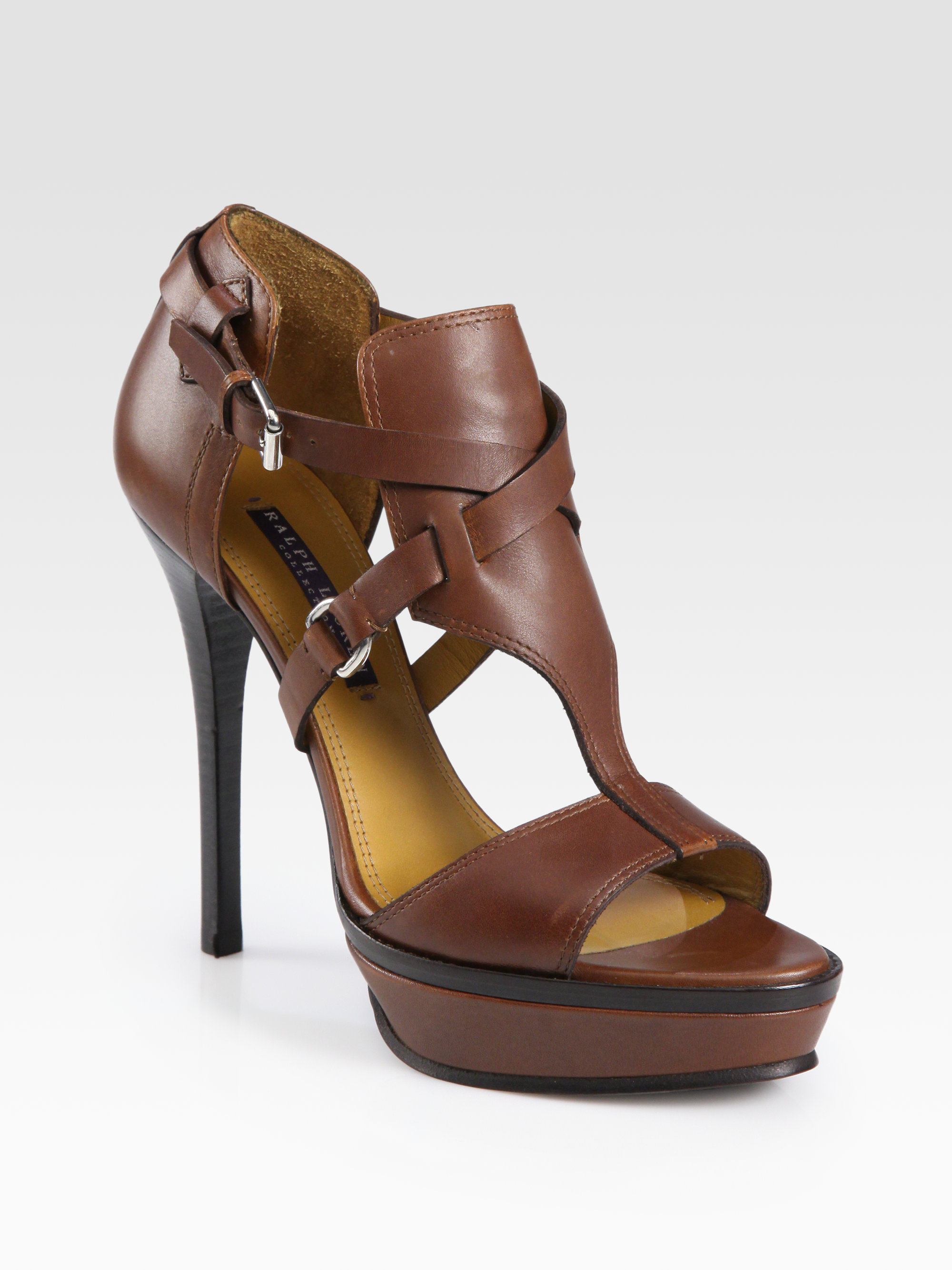 b4f03edb03b Ralph Lauren Collection Brown Leather Equestrianinspired Platform Sandals