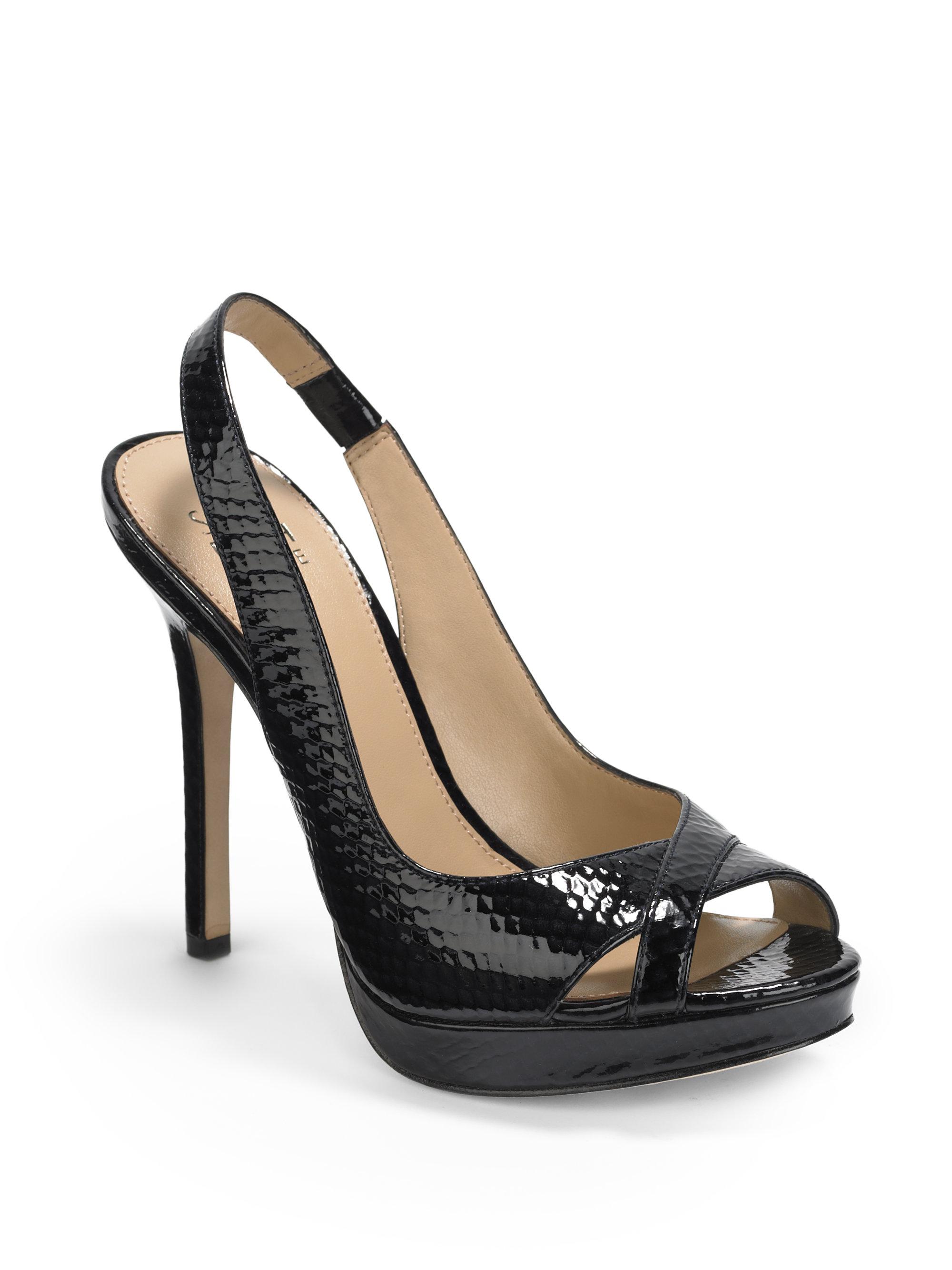 saks fifth avenue snakeembossed patent platform sandals in