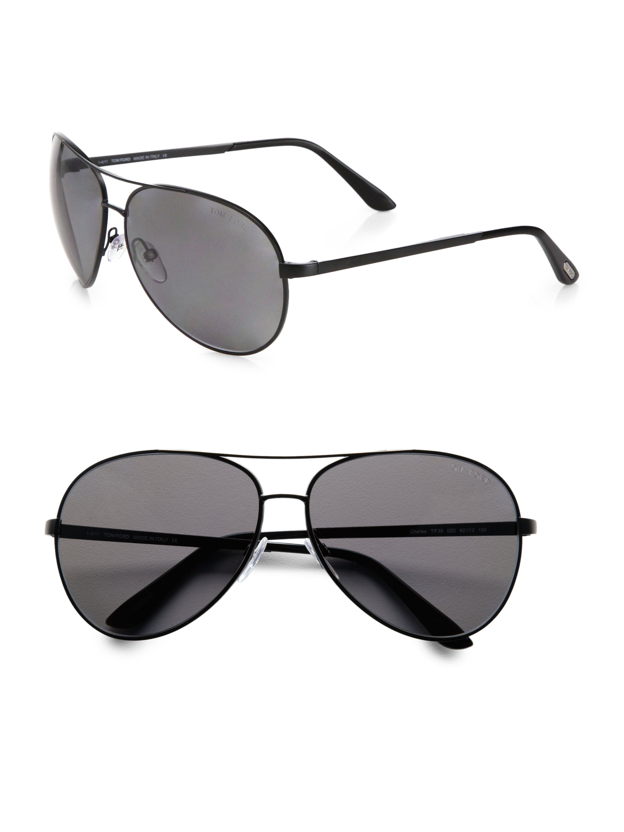 7d033227f69 Lyst - Tom Ford Charles Metal Aviator Sunglasses in Black for Men