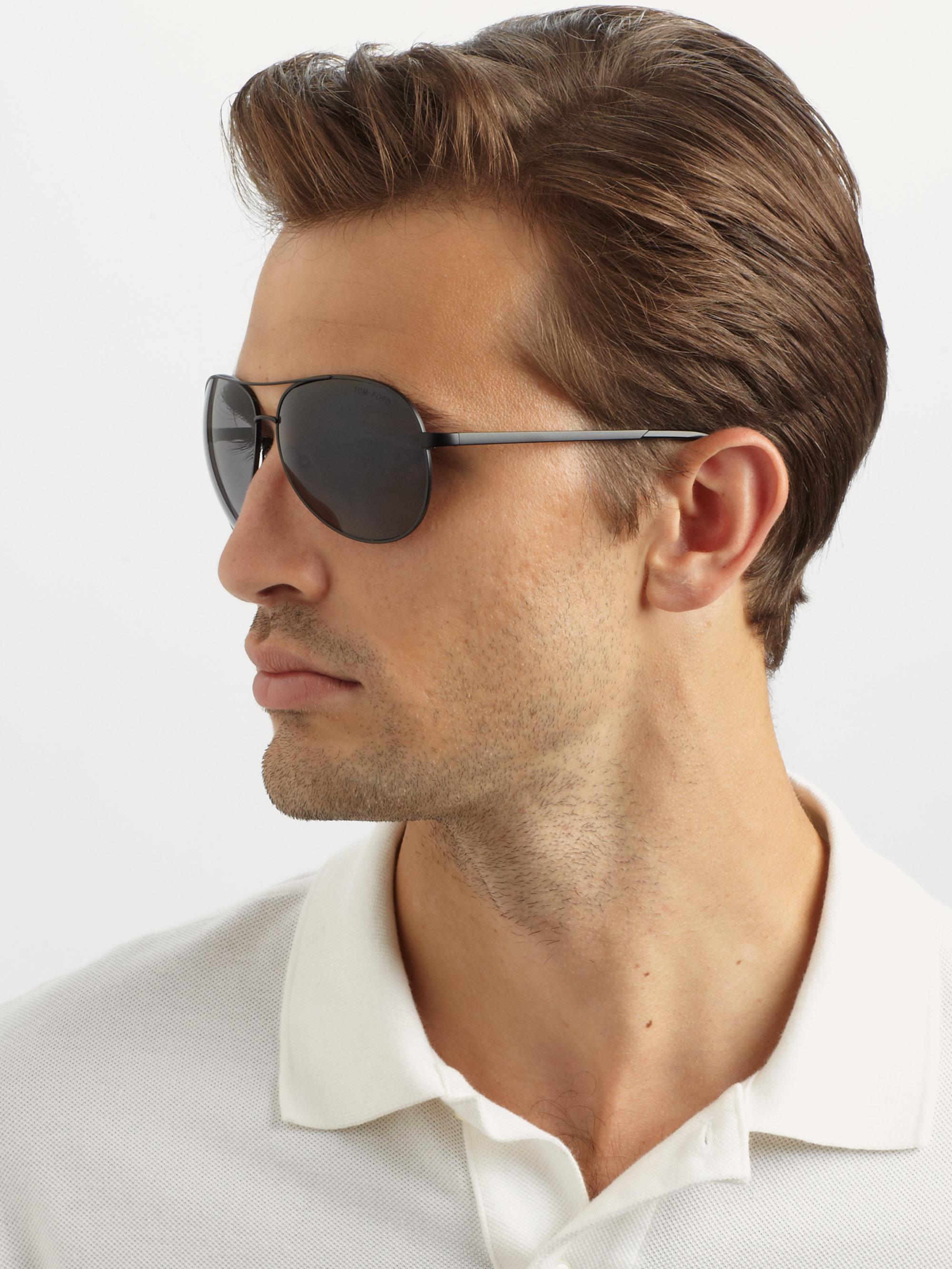 lyst tom ford charles metal aviator sunglasses in black. Black Bedroom Furniture Sets. Home Design Ideas