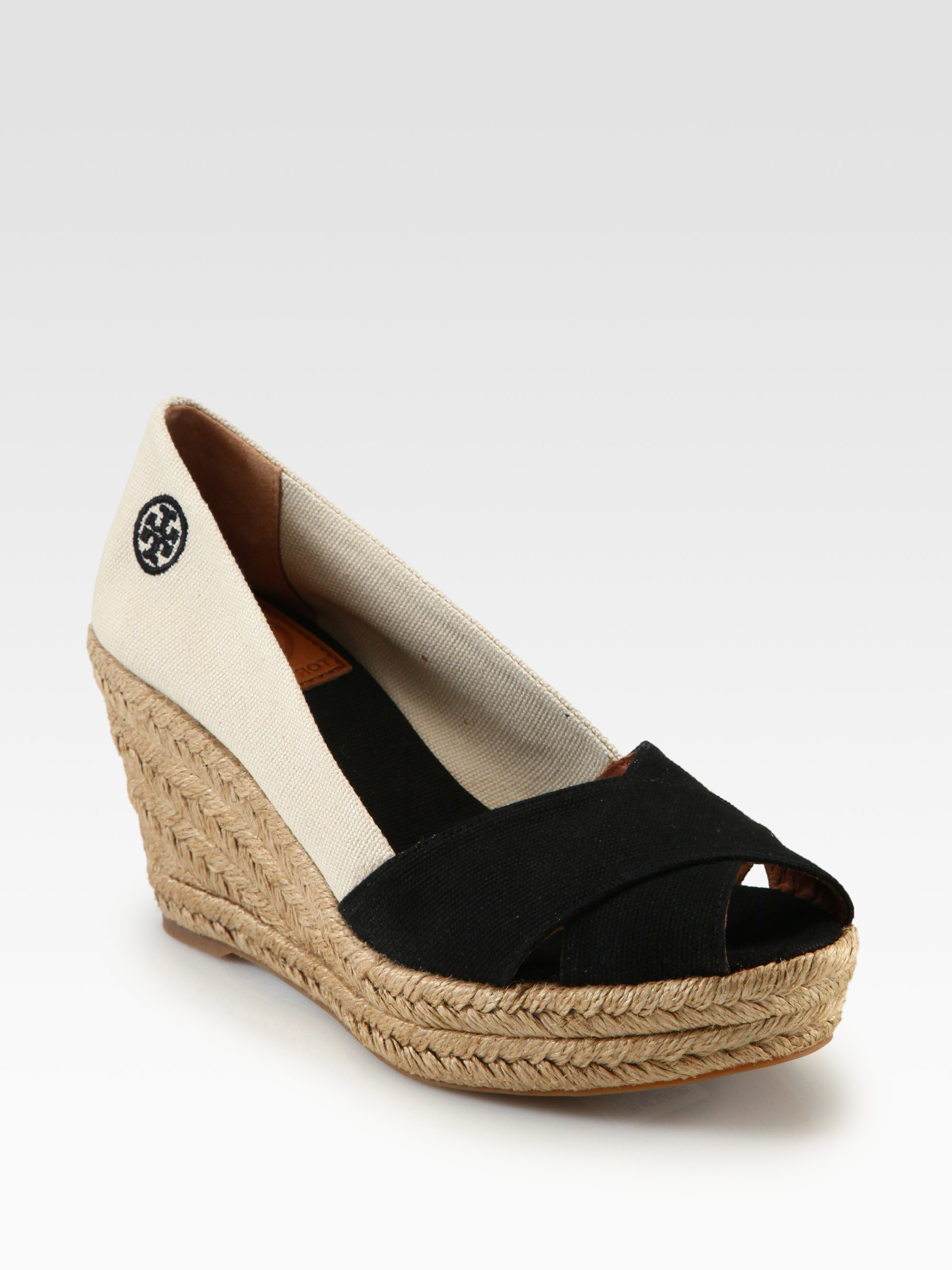 5e0c24a3f Tory Burch Filipa Canvas Espadrille Wedges in Orange - Lyst