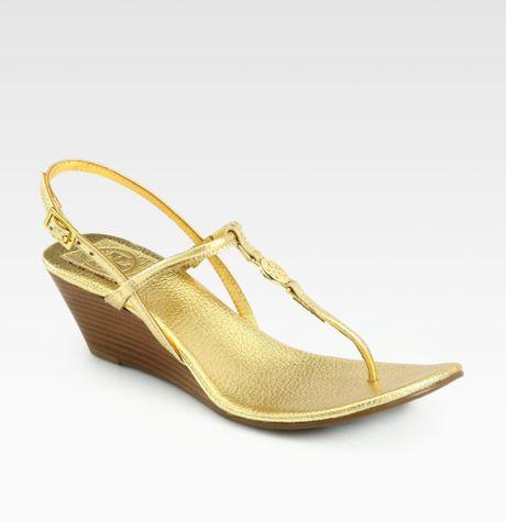 Tory Burch Emmy Metallic Leather Wedge Sandals in GoldTory Burch Emmy Wedge Sandals