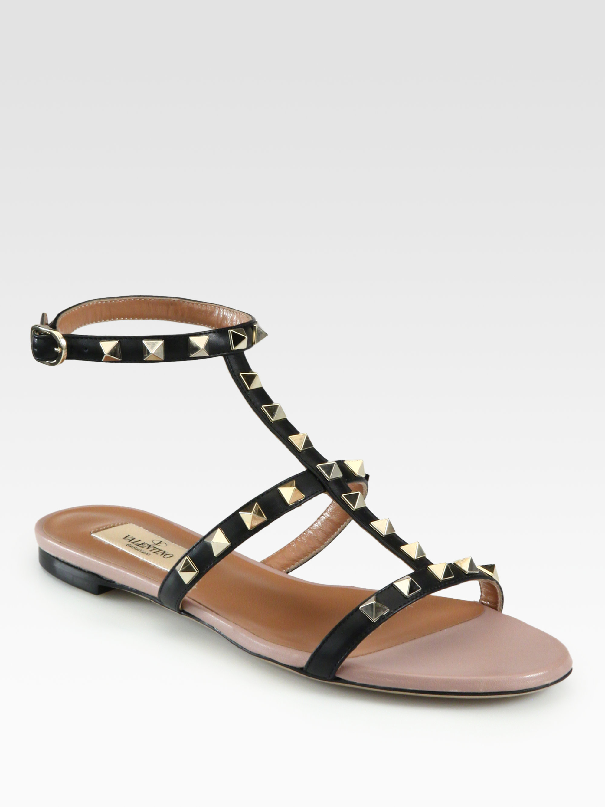 Lyst Valentino Rockstud Leather Gladiator Sandals In Black