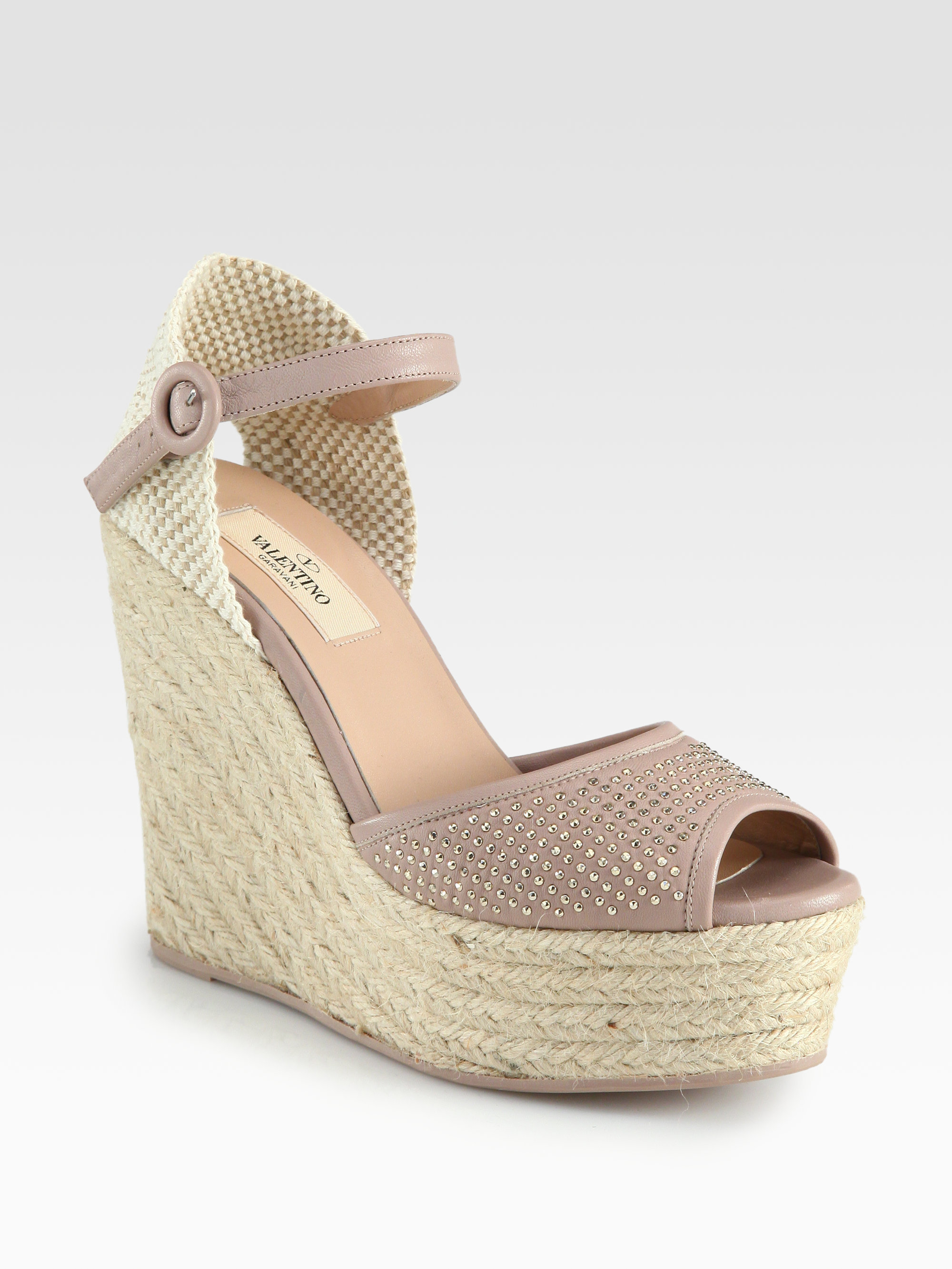 Valentino Studded Leather Espadrille Wedge Sandals In
