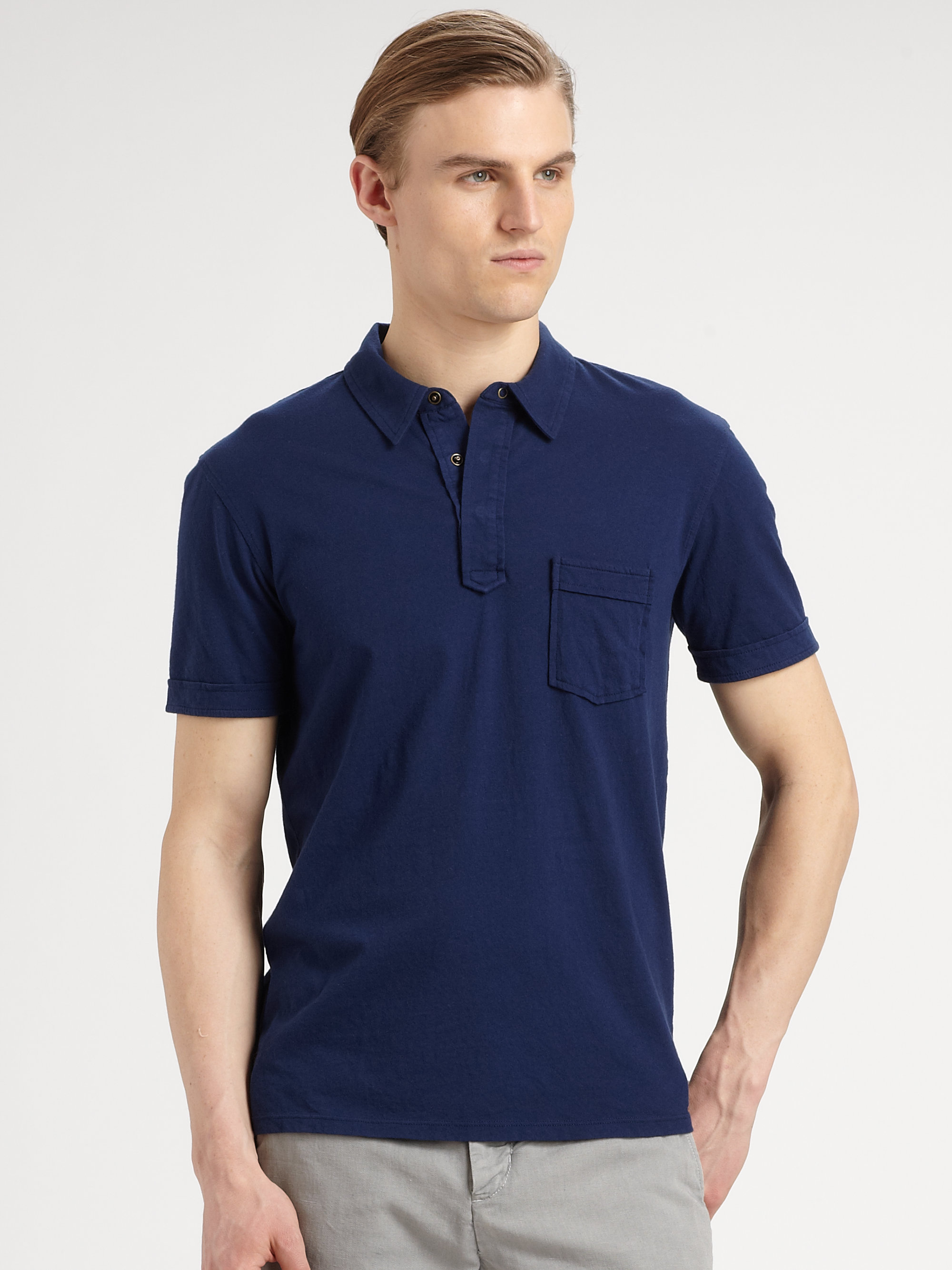 Vince snap placket polo in blue for men sapphire lyst for Mens shirts with snaps instead of buttons