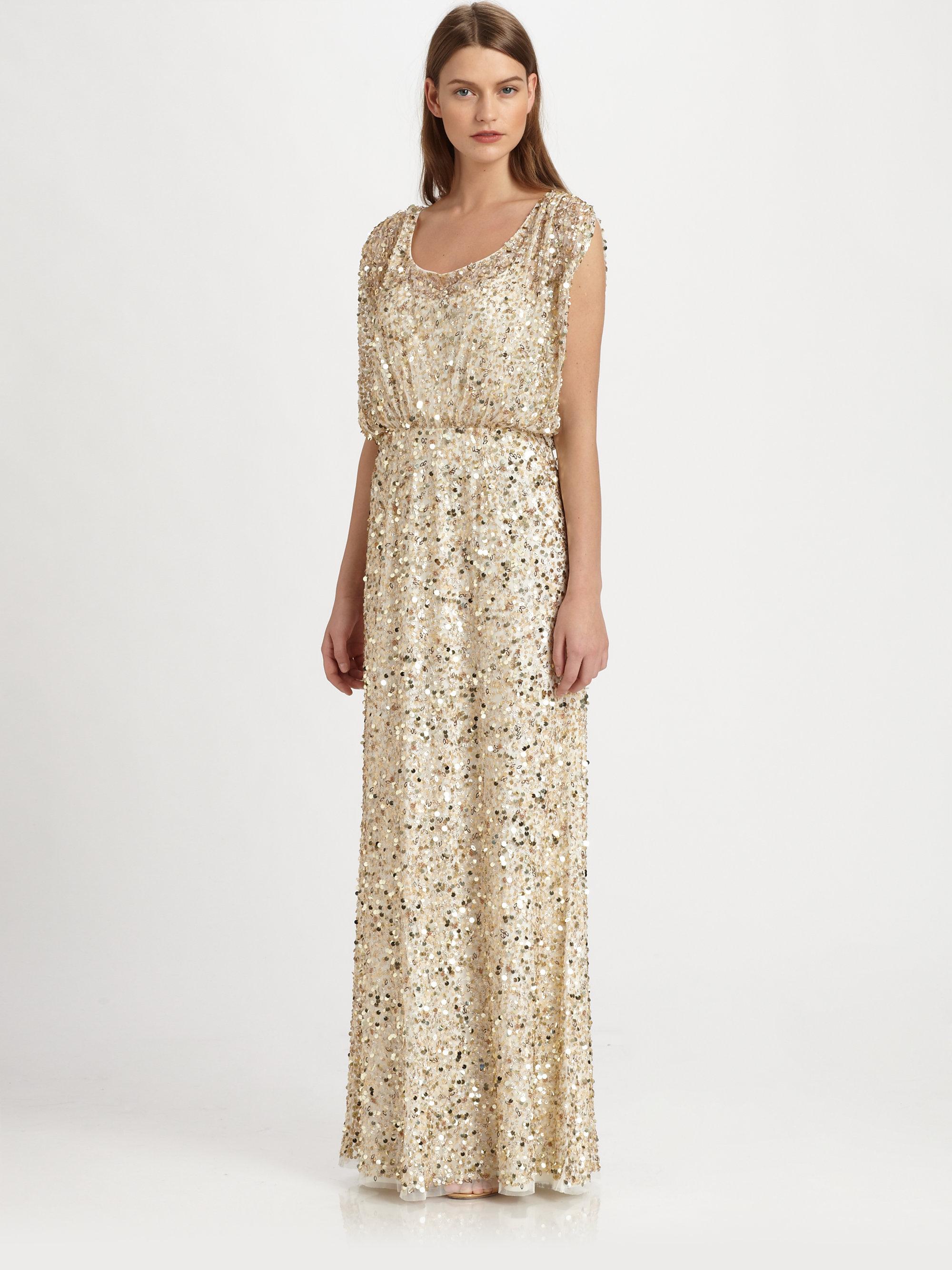 Mattox aidan sequin dress gold