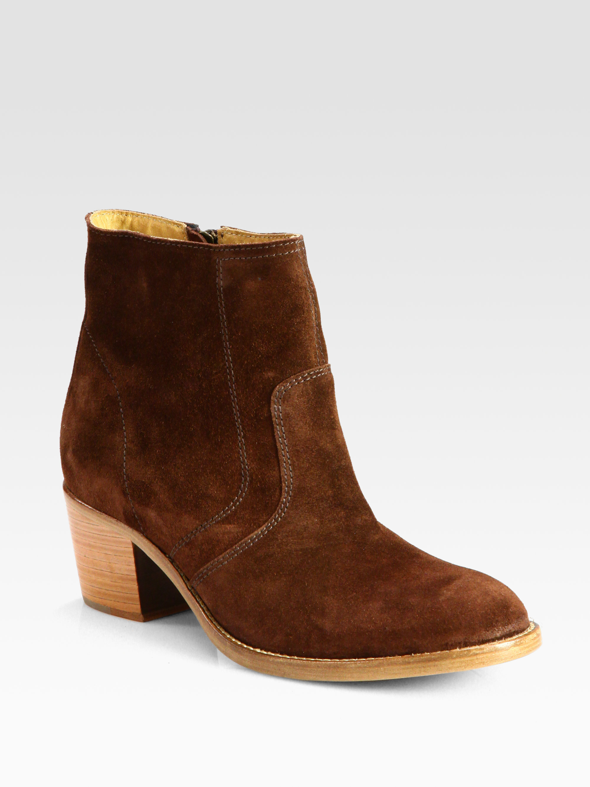 A.p.c. Suede Ankle Boots in Brown | Lyst