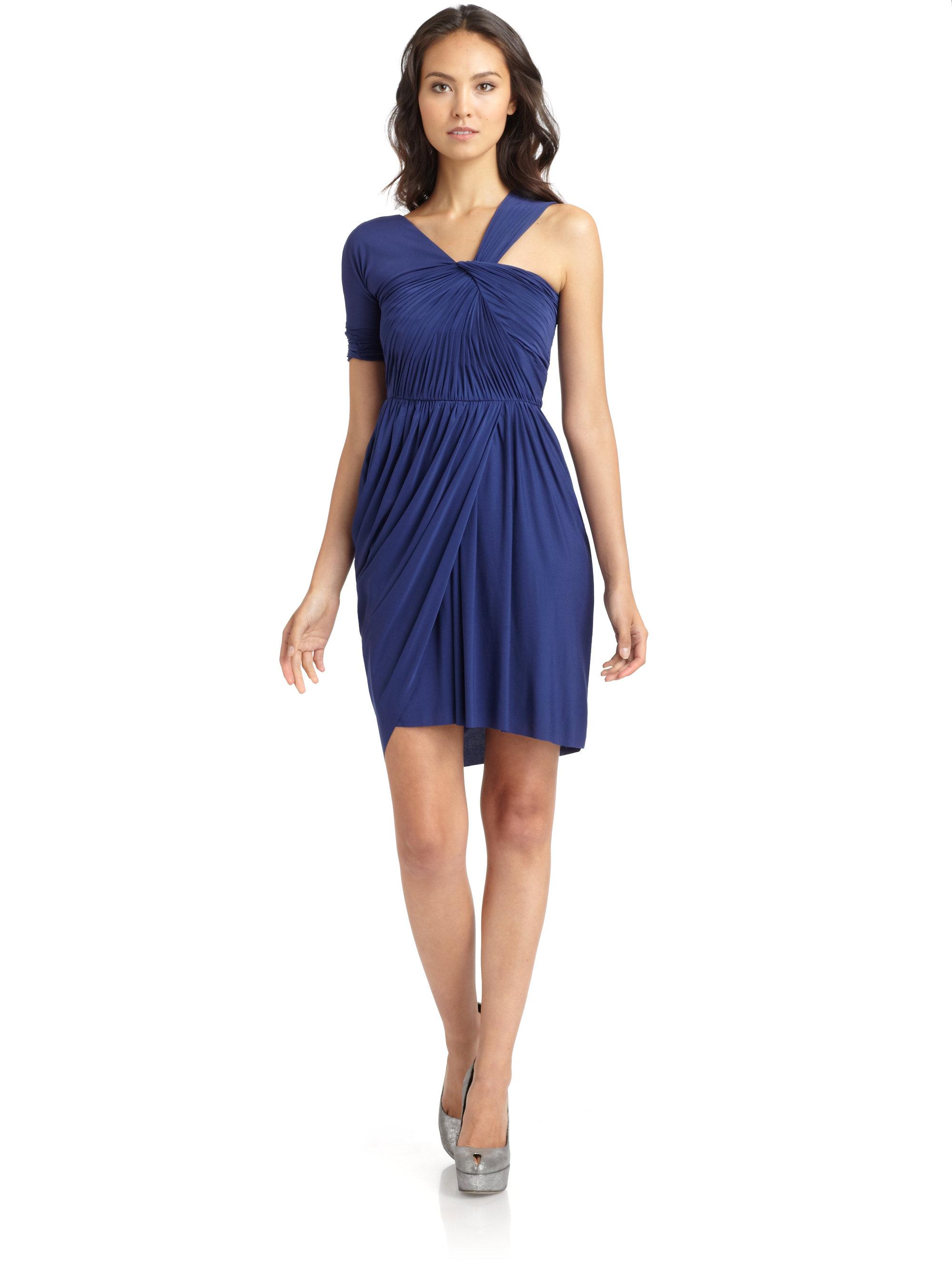 1bc8aa9686 Lyst - BCBGMAXAZRIA Christina Ruched Asymmetric Cocktail Dress in Blue