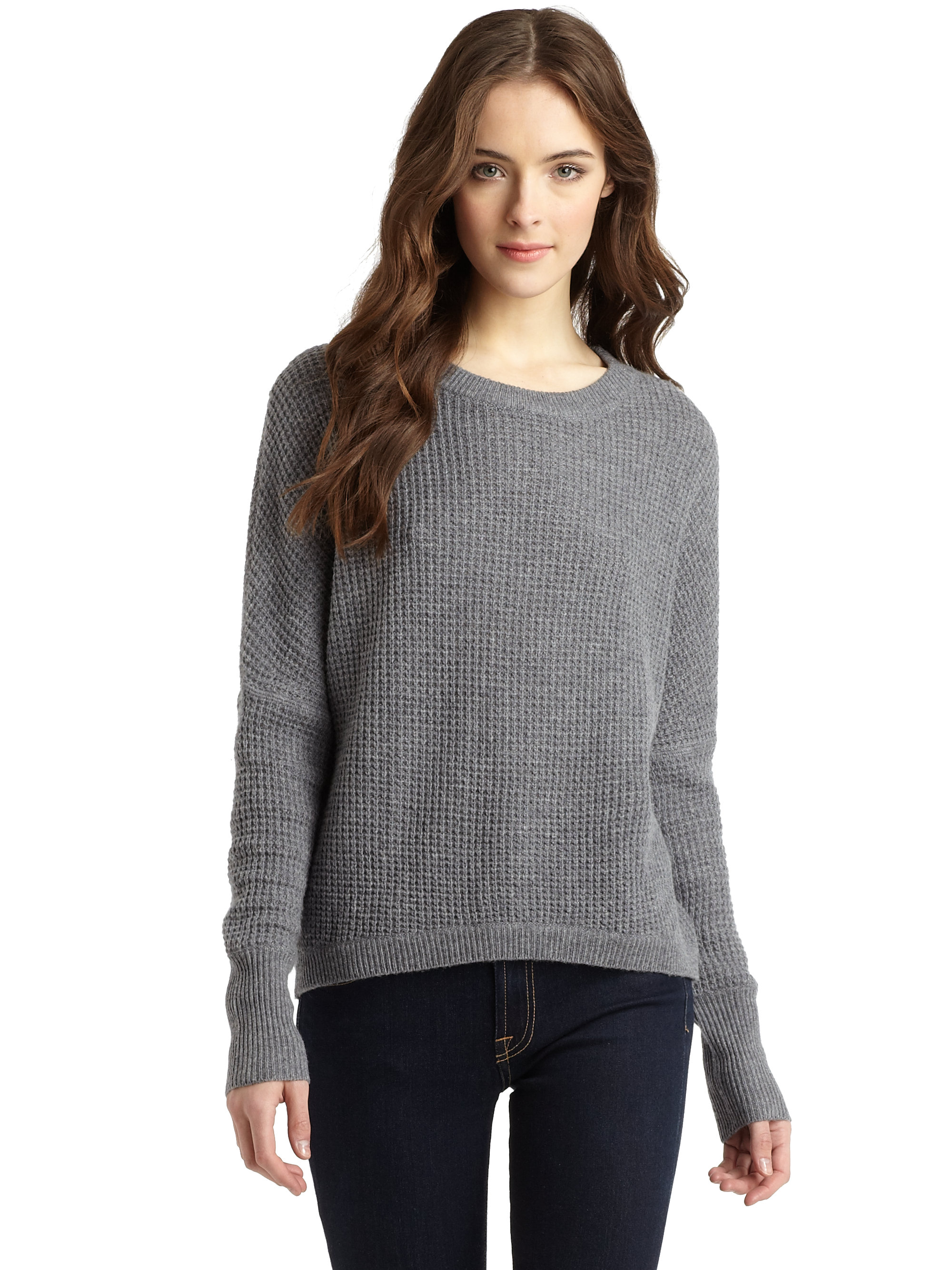 Bcbgmaxazria Camille Waffle Knit Sweater in Gray | Lyst