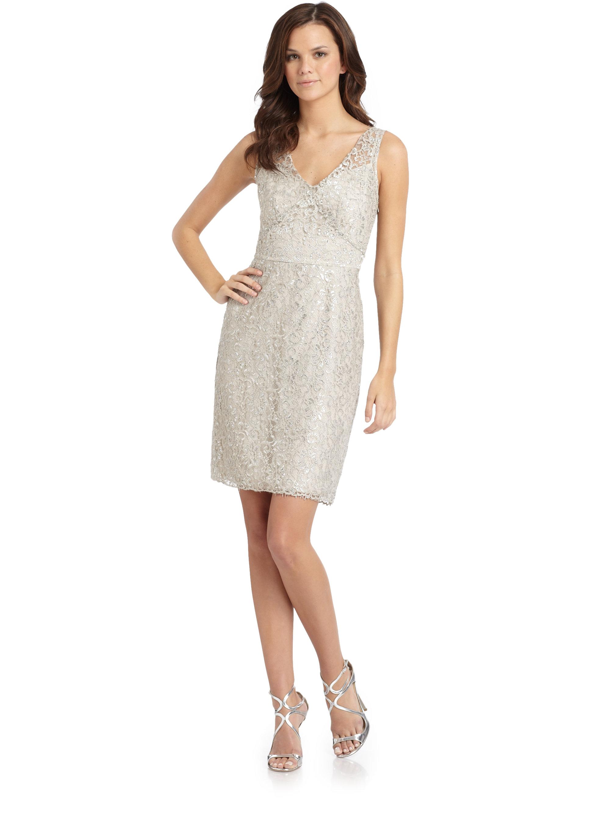 5c49b4104113 Lyst - BCBGMAXAZRIA Floral Lace Dress in Metallic