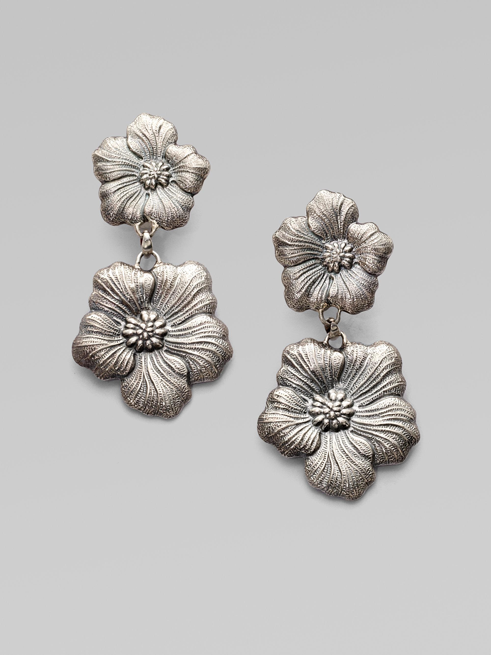 Buccellati Blossom Sterling Silver Double Drop Earrings In