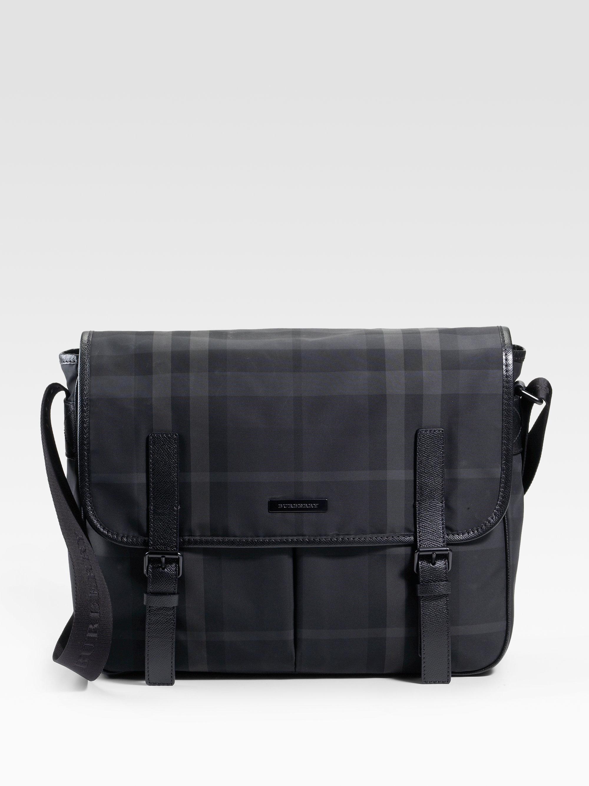 Lyst - Burberry Beat Check Nylon Messenger Bag in Black for Men a13a19800522e