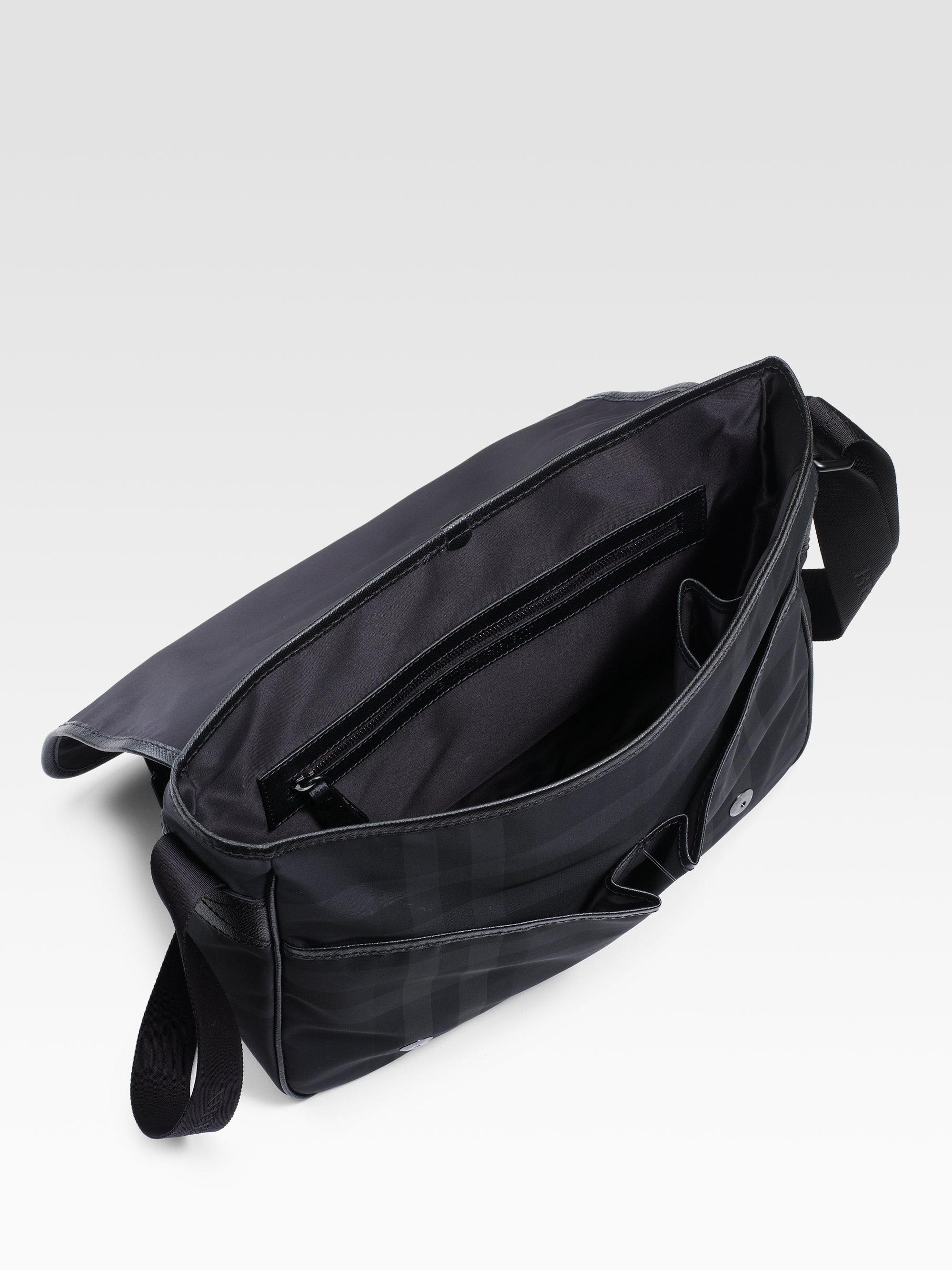57015a32d8f9 Lyst - Burberry Beat Check Nylon Messenger Bag in Black for Men