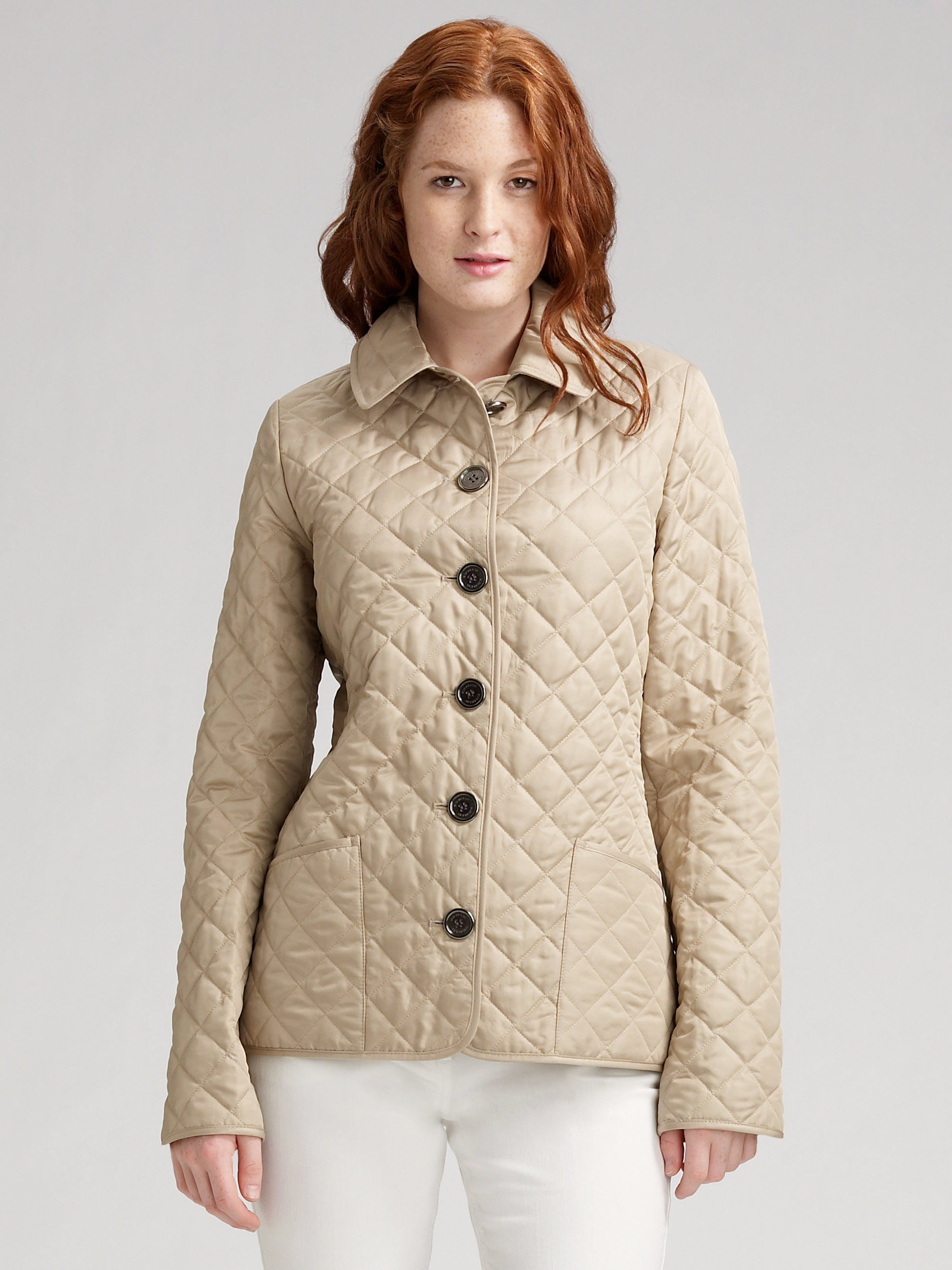 Lyst - Burberry brit Fitted Quilted Jacket in Natural : burberry brit jacket quilted - Adamdwight.com