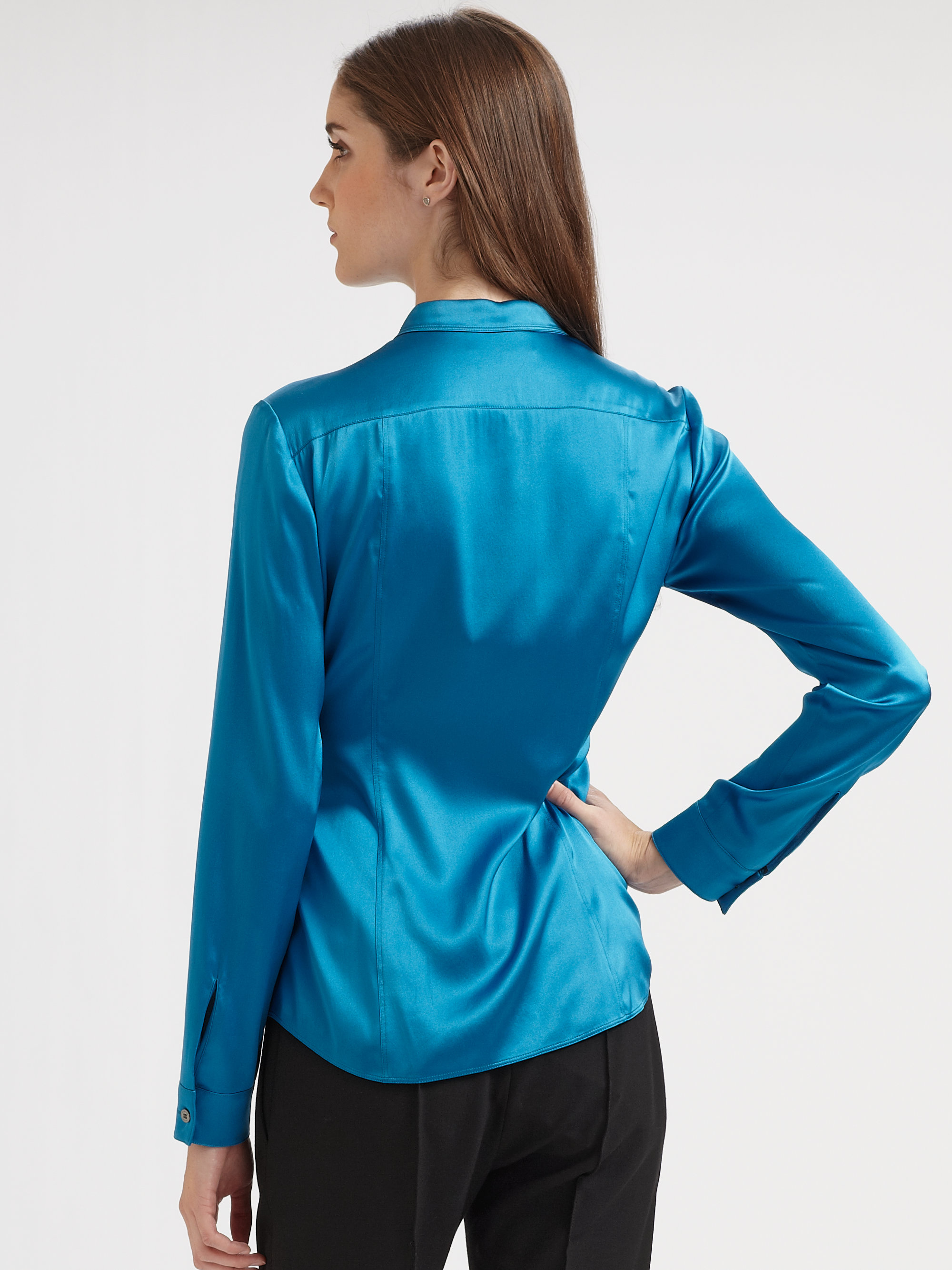Lyst Burberry Silk Blouse In Blue