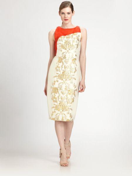 Carolina Herrera Baroque Lameacute Jacquard Dress In Gold