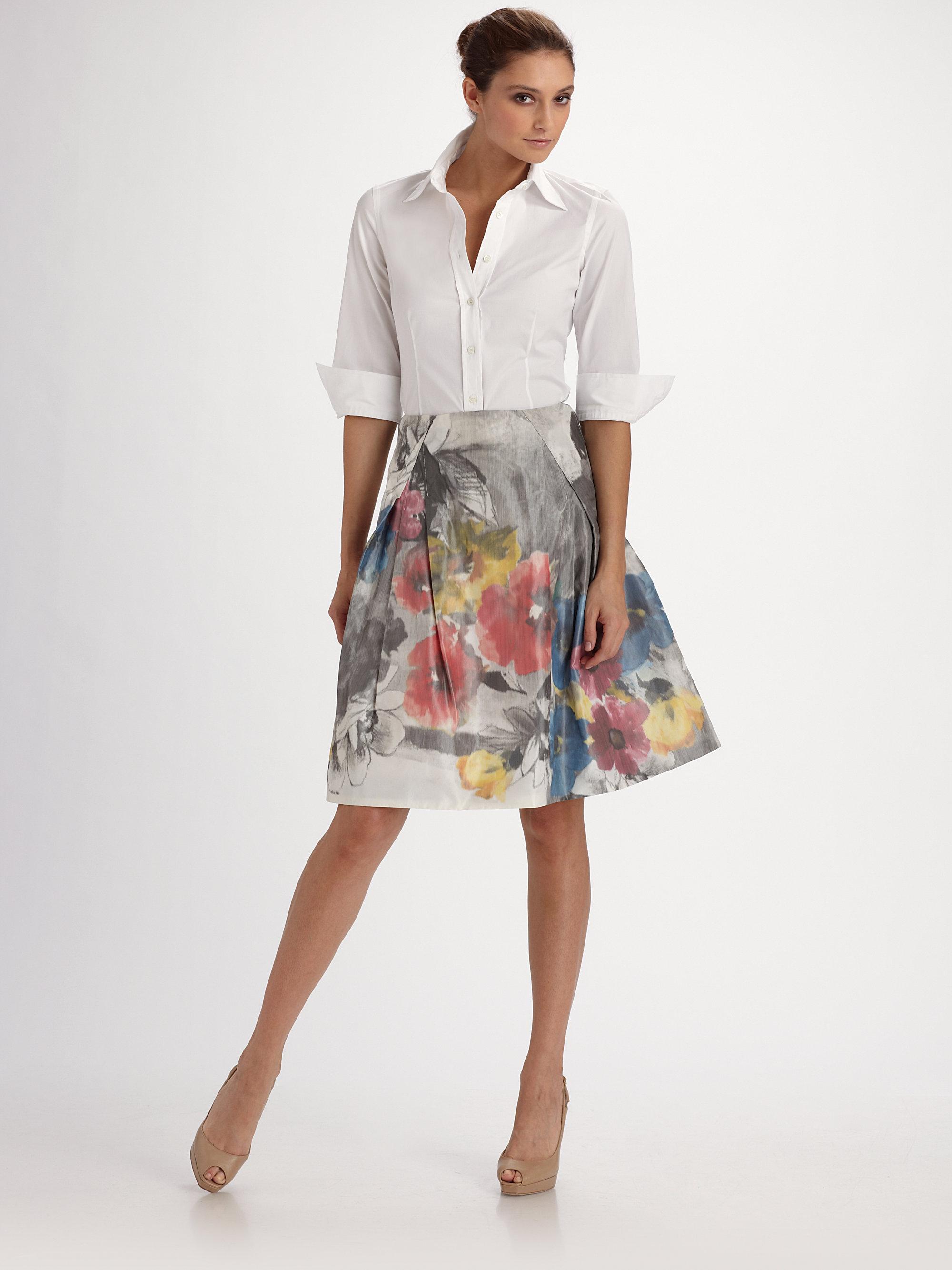 Lyst Carolina Herrera Threequarter Sleeve Blouse In White