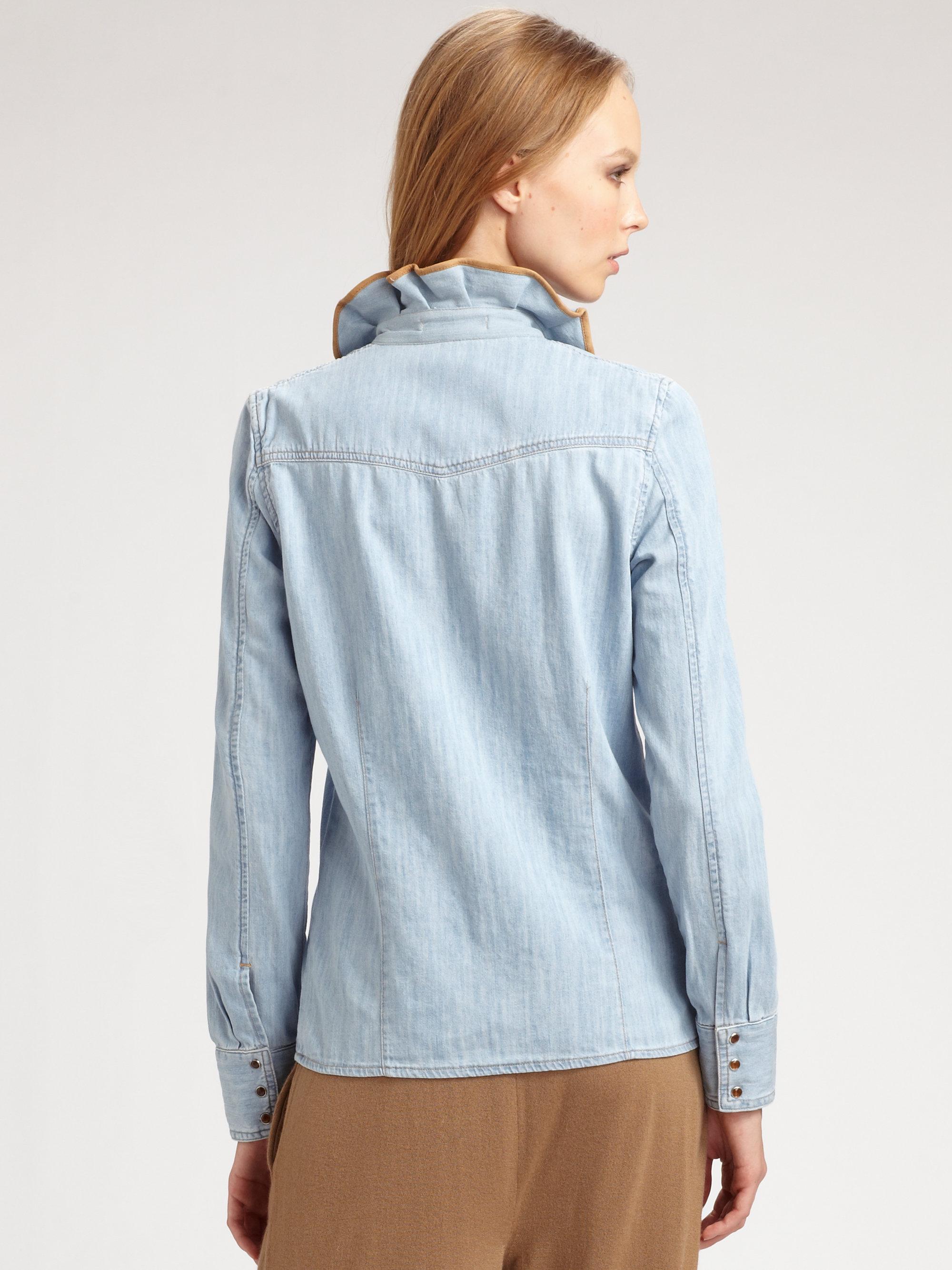 Jacquard Spot Ruffle Shirt - Tops - Clothing - Topshop Europe |Ruffle Shirt