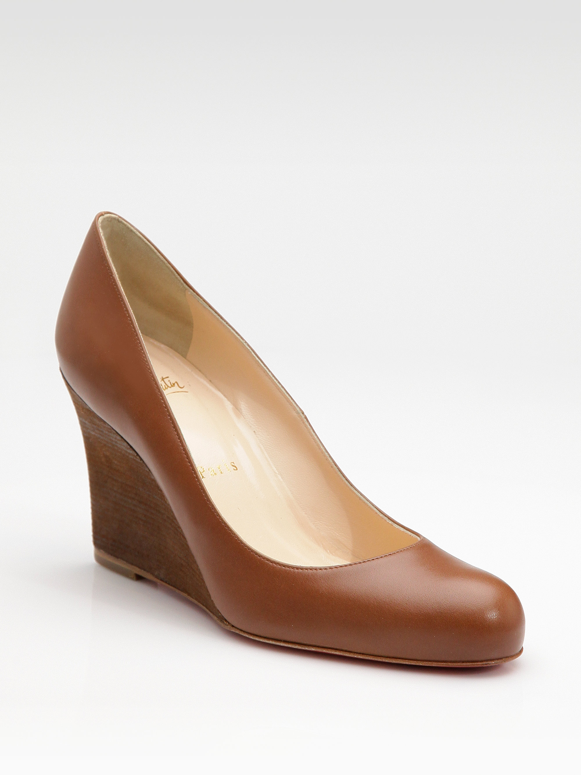 dabde83b3d84 Lyst - Christian Louboutin Miss Boxe Wedge Pumps in Brown