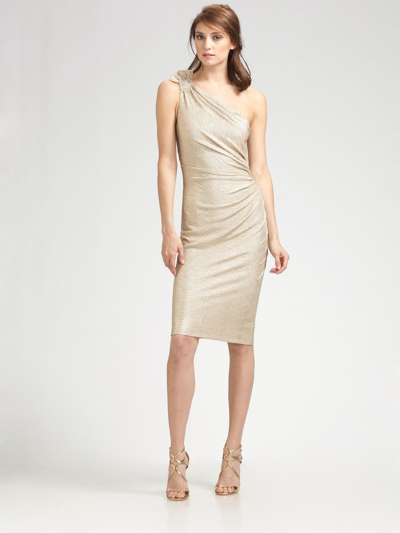 Lyst - David Meister Matelasse One Shoulder Dress in Metallic