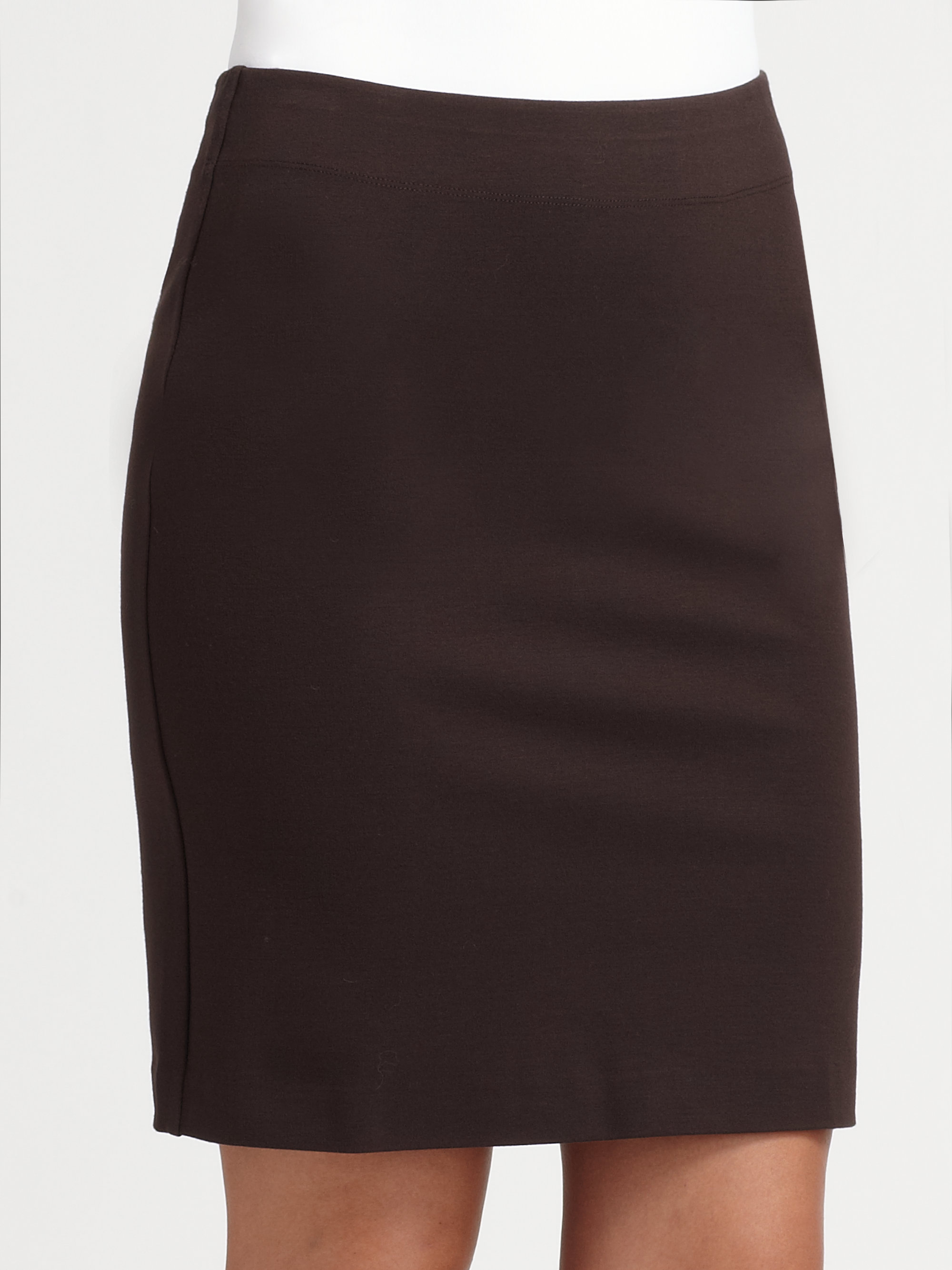 eileen fisher stretch ponte pencil skirt in brown lyst