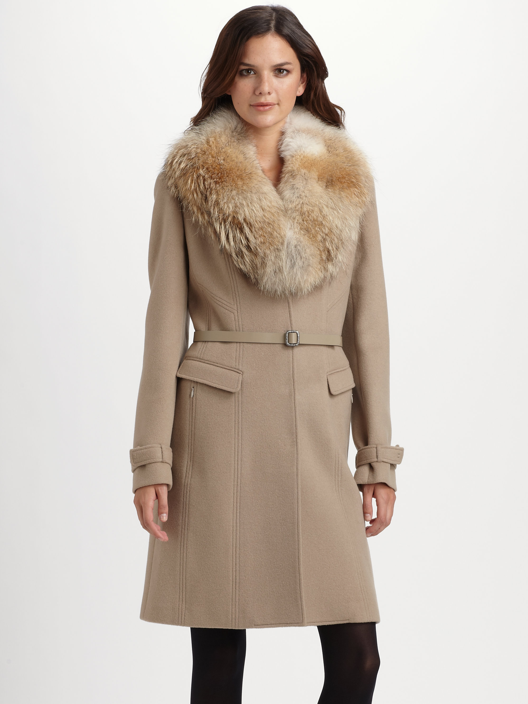 Elie tahari Fur-trimmed Wool Coat in Brown | Lyst