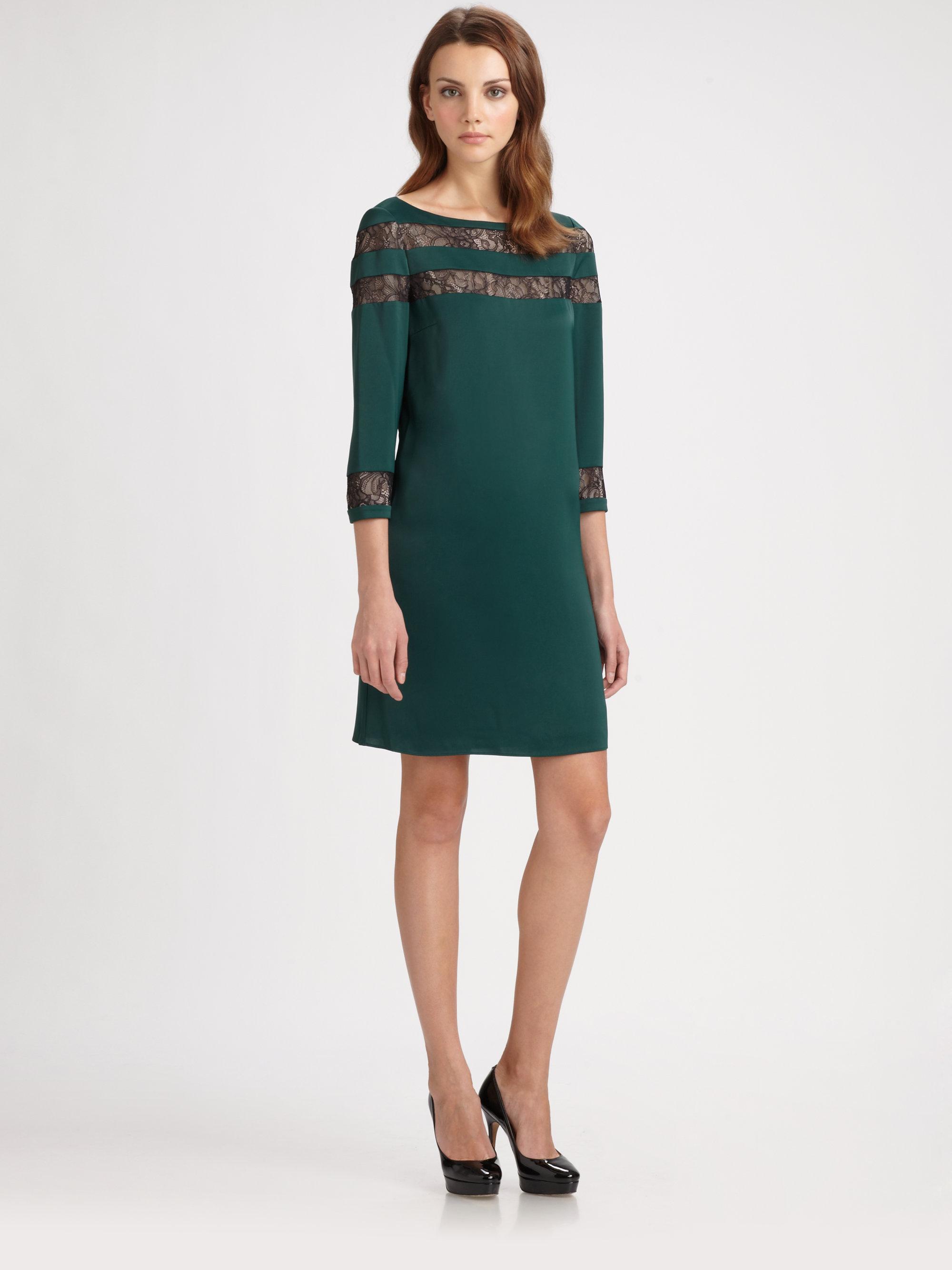 Erin Erin Fetherston Lace Inset Dress In Green Lyst