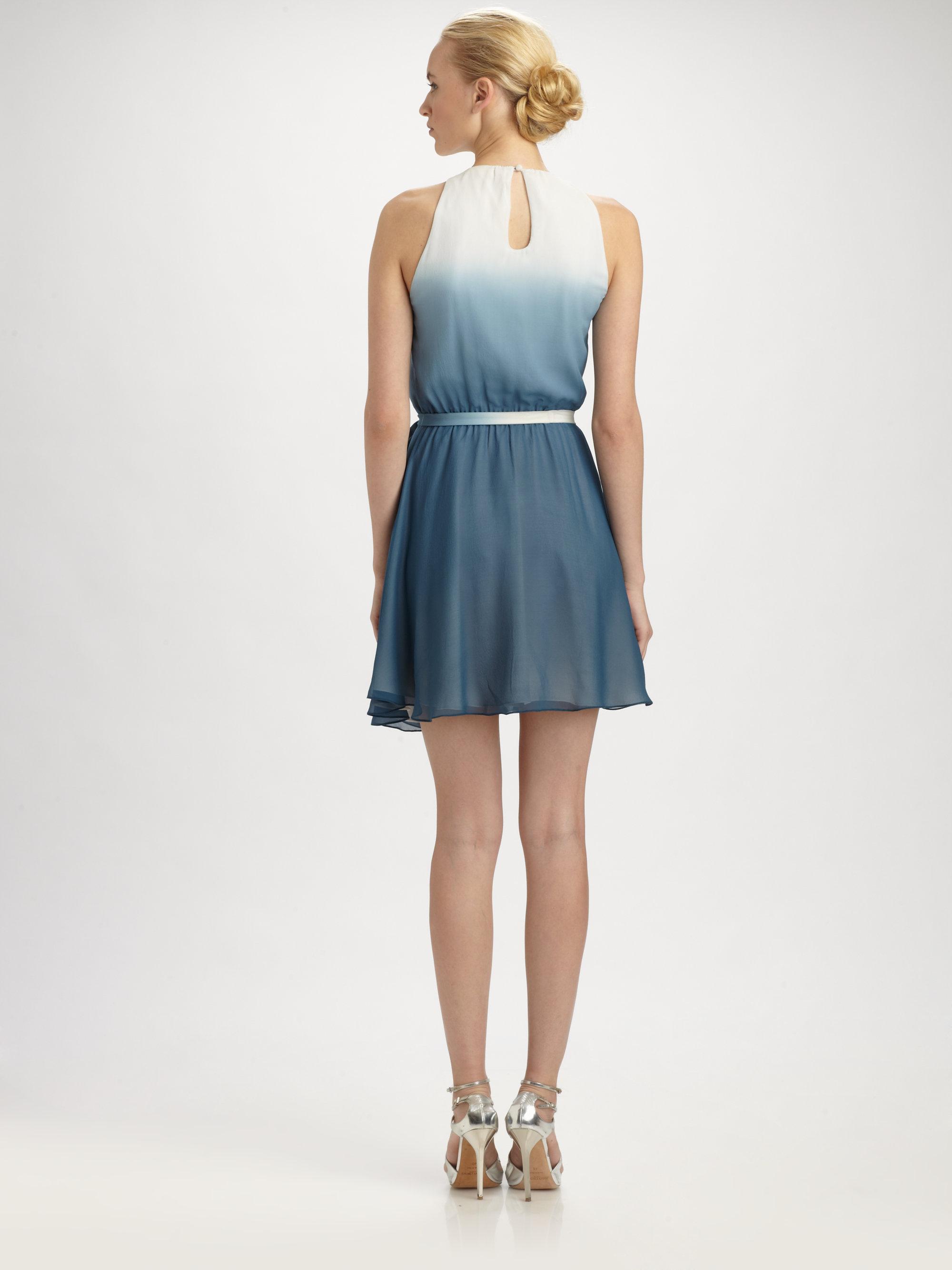 Erin Erin Fetherston Silk Ombreacute Dress In Blue Lyst