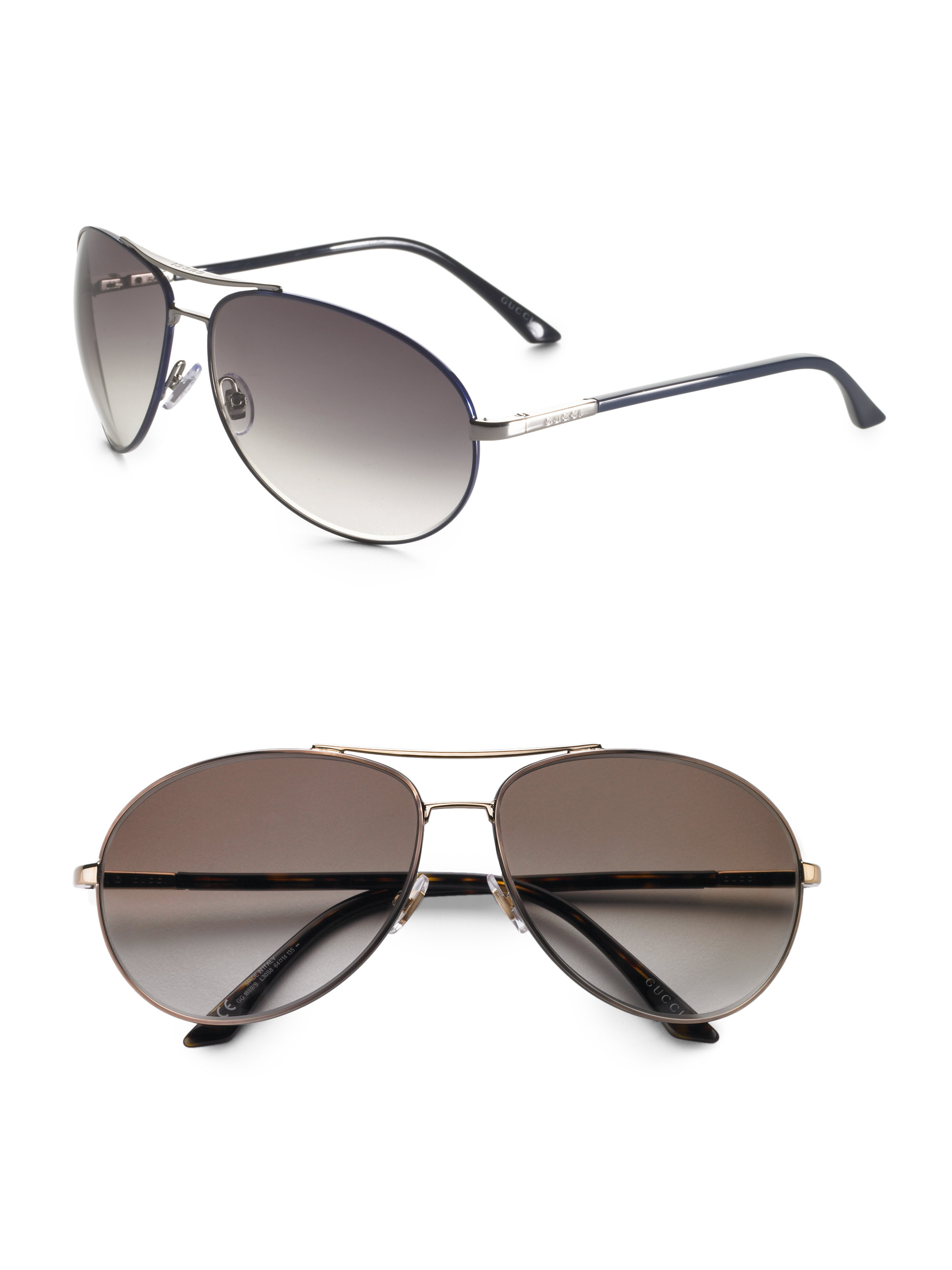 Gucci Aviator Sunglasses in Gold (dark gold frame, brown ...