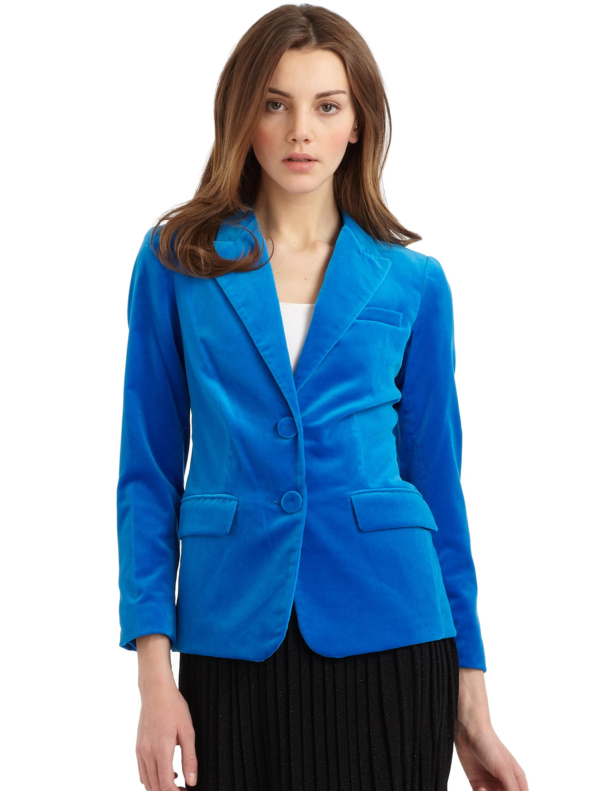 Lyst Halston Electric Blue Velvet Blazer In Blue