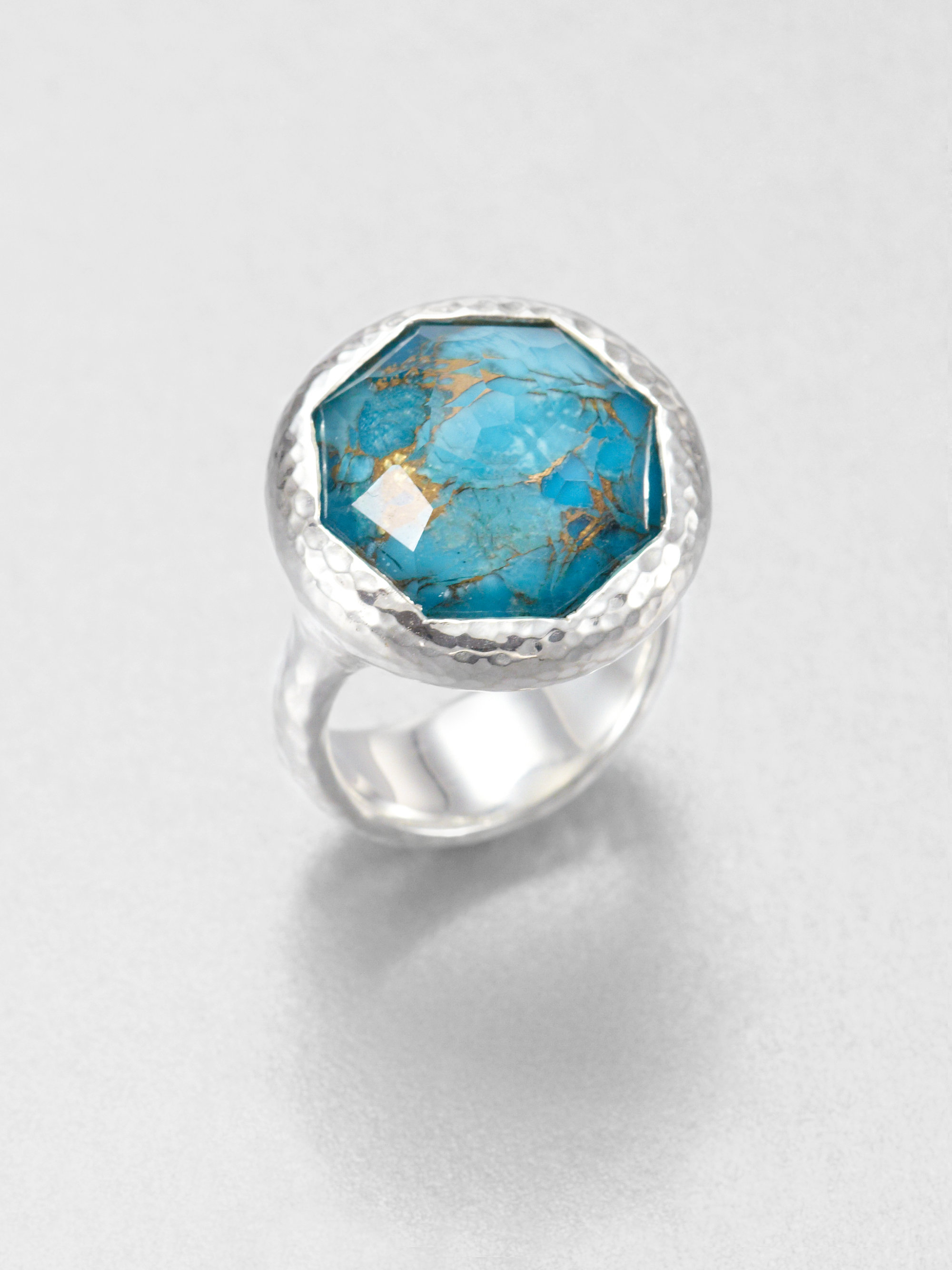 ring my iphone lyst ippolita bronze turquoise doublet ring in blue 1498