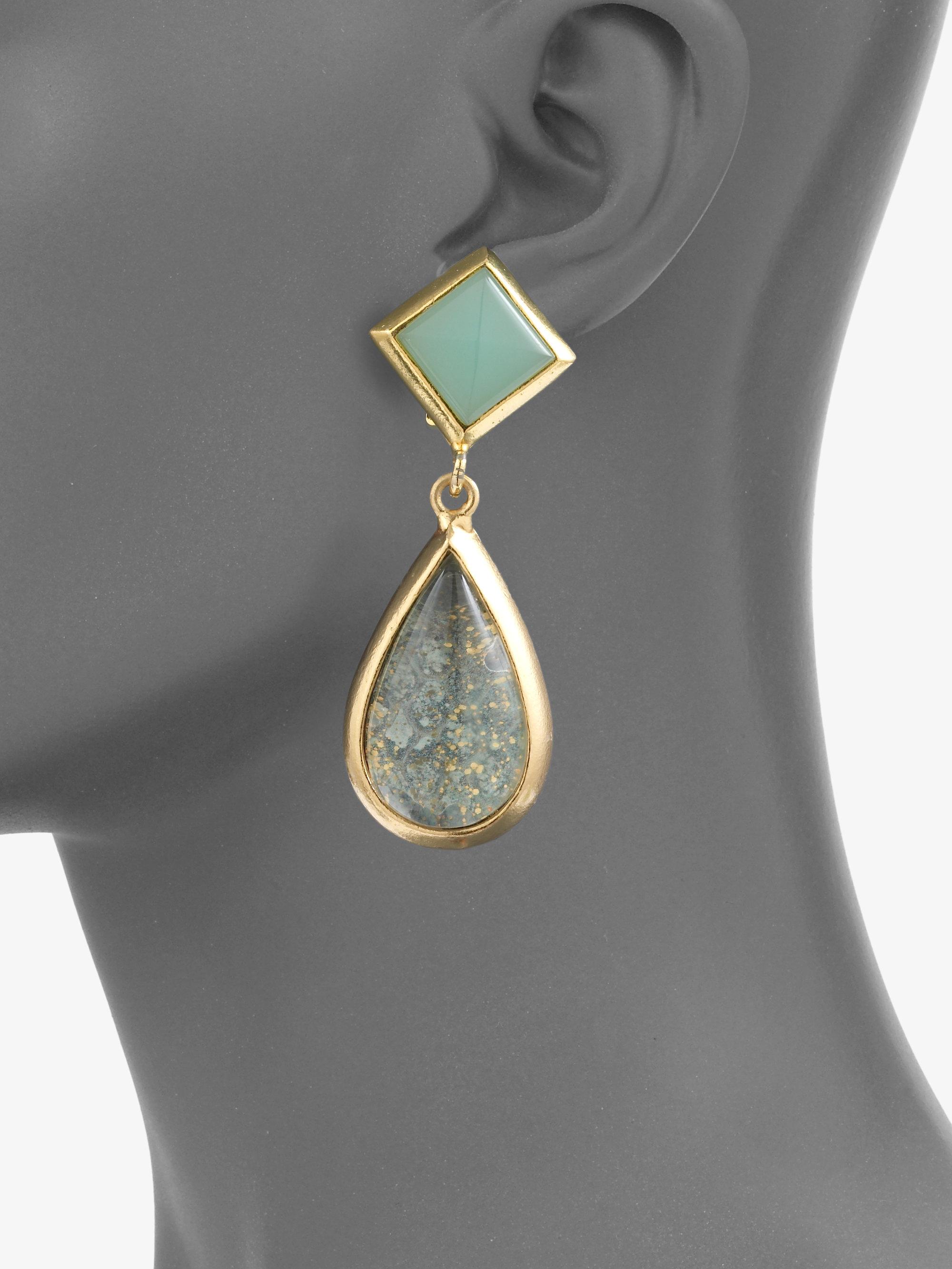 Lyst Kara Ross Resin Teardrop Earrings In Green