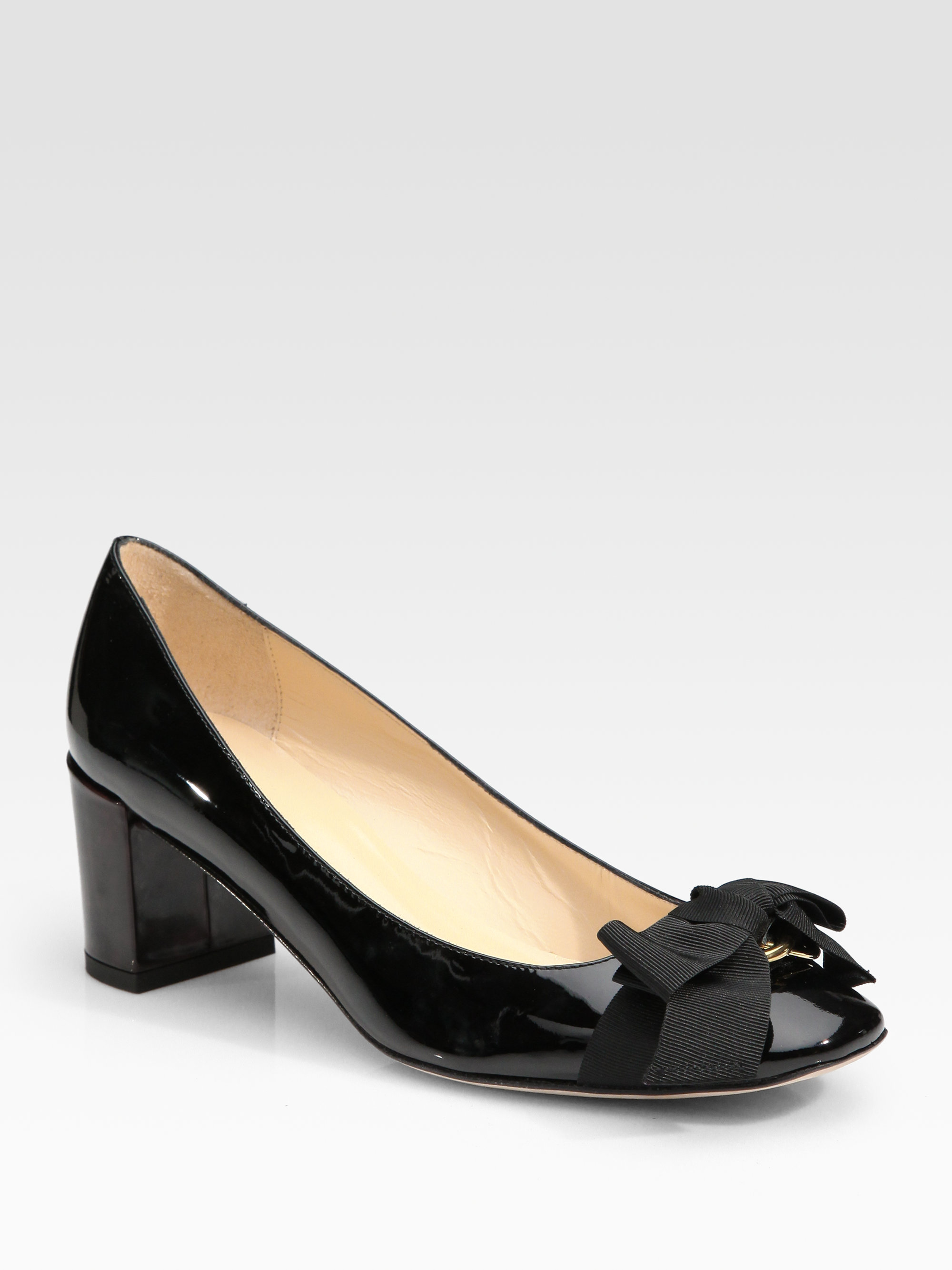 1a6ca55c5005 Lyst - Kate Spade Dale Patent Leather Bow Pumps in Black