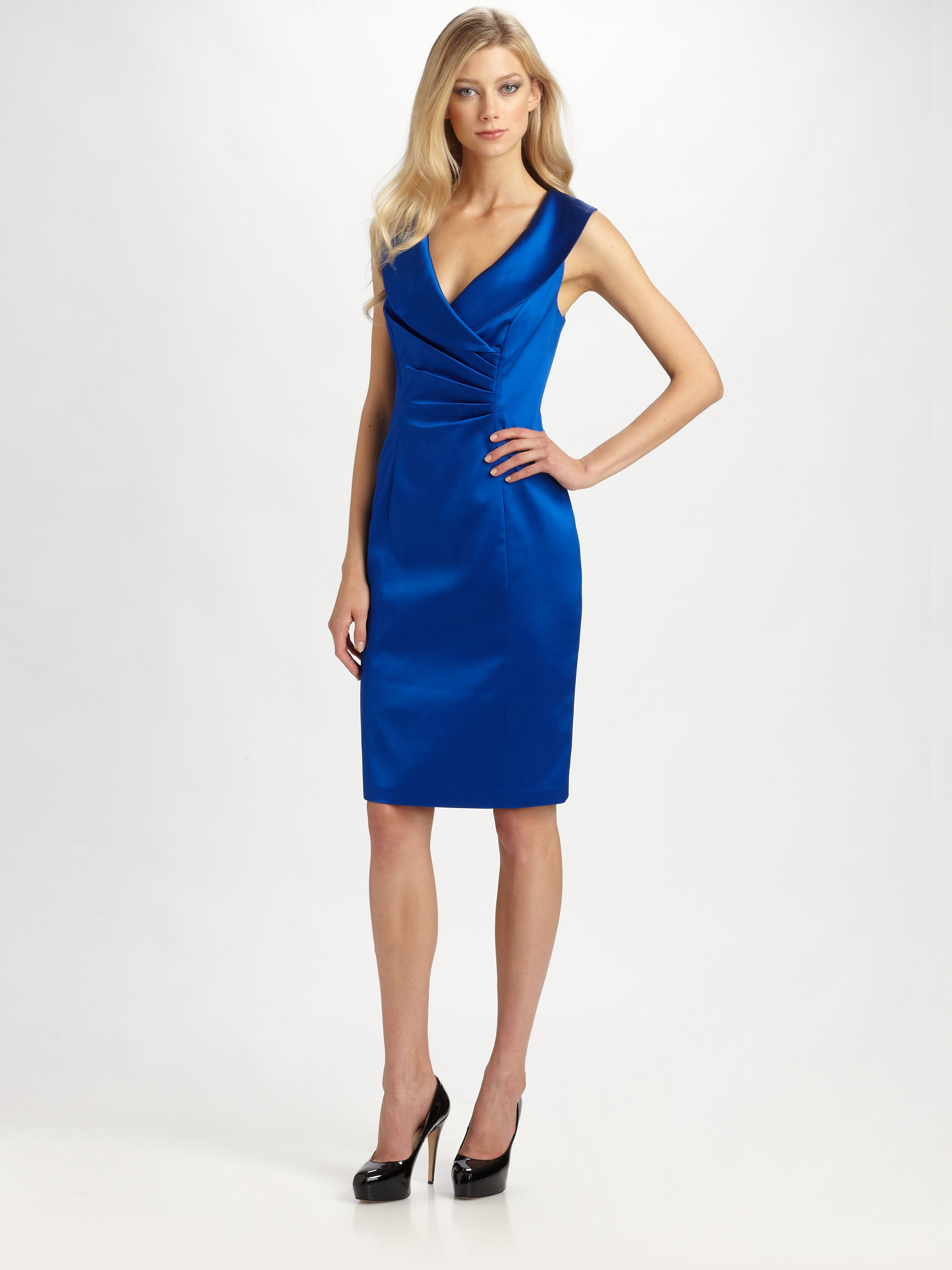 Kay unger Satin Dress in Blue | Lyst