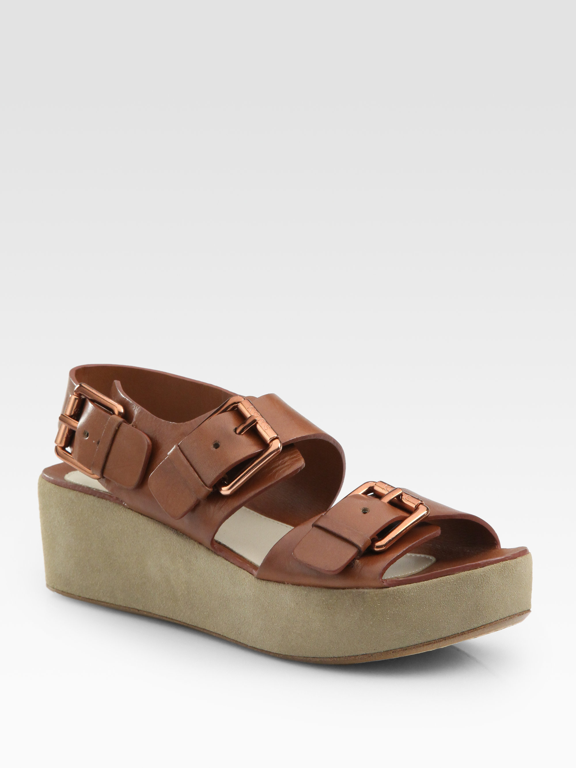 Kors By Michael Kors Zoe Leather And Suede Platform Buckle