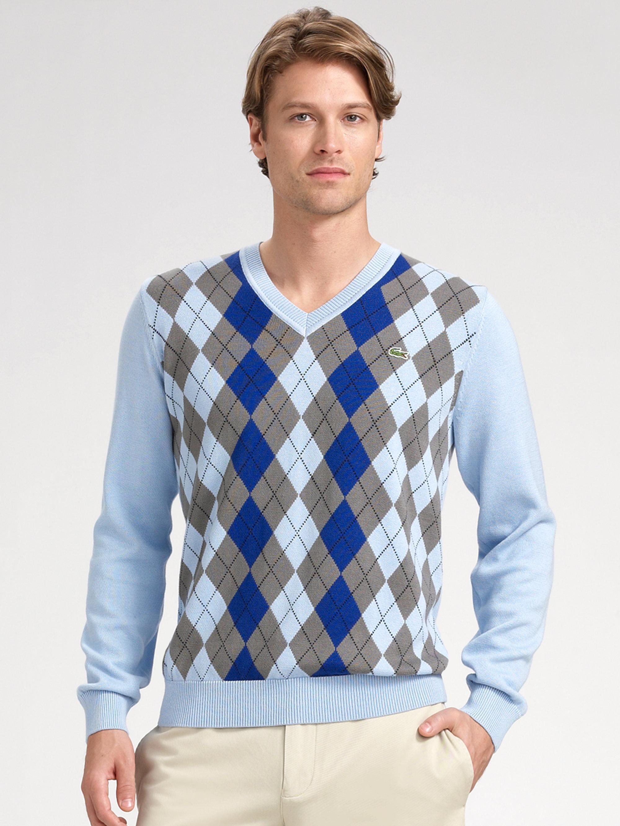 Lacoste Vneck Argyle Sweater in Blue for Men | Lyst