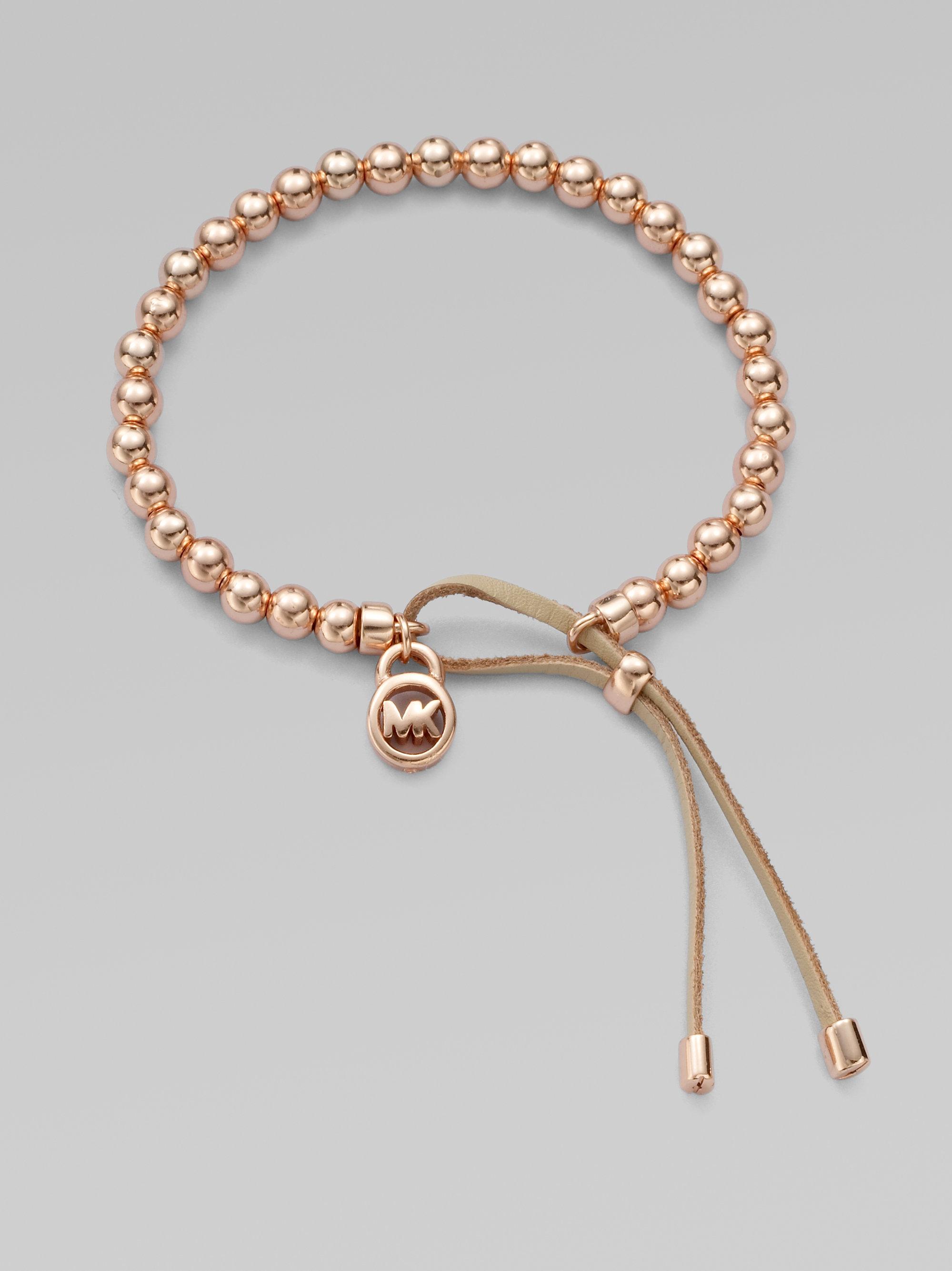 5d67ac8dcc39 Lyst - Michael Kors Leather Accented Beaded Bracelet rose Goldtone ...