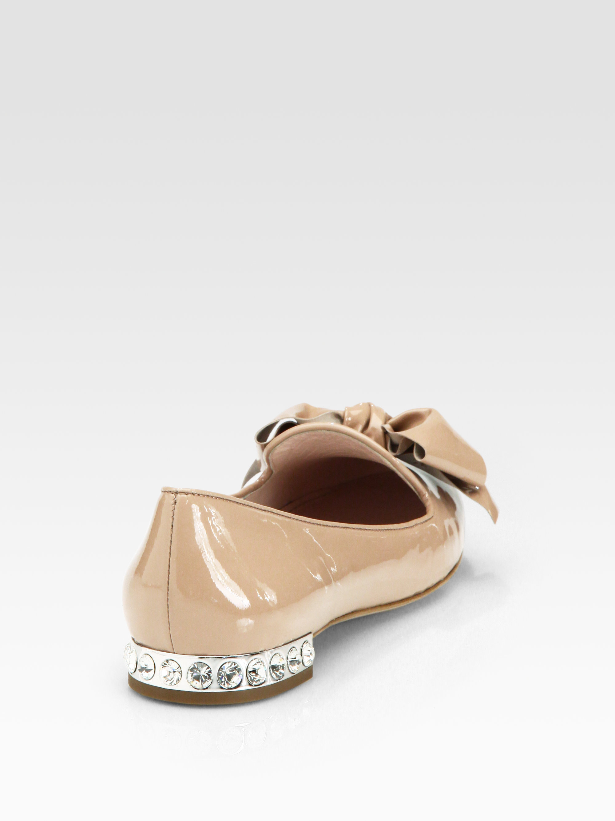Miu Miu Patent Leather Jewel-Embellished Flats many kinds of for sale clearance limited edition extremely online cheap sale shopping online clearance good selling EQbmSx0B
