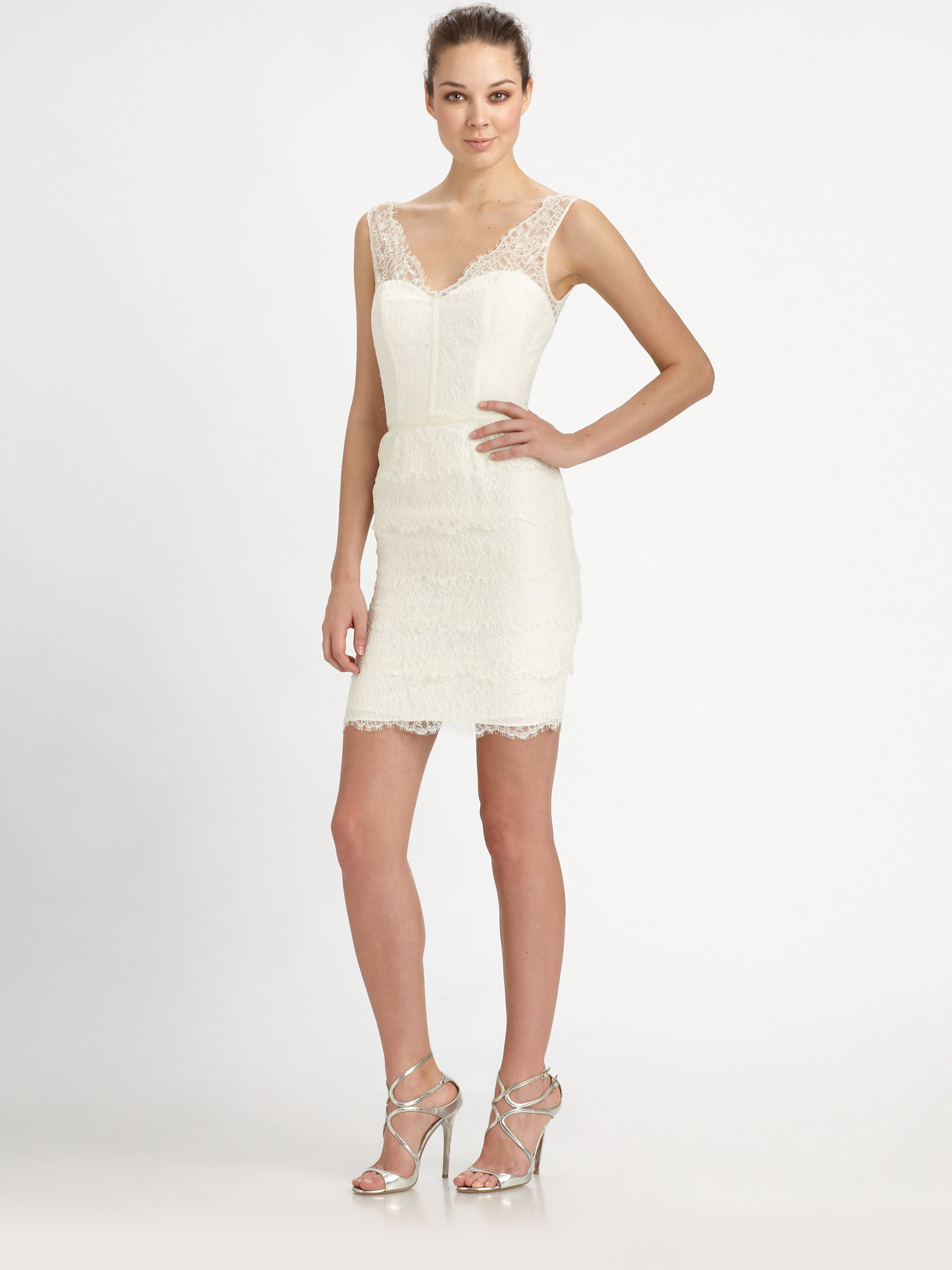 Lyst Ml Monique Lhuillier Tiered Lace Bustier Dress In White