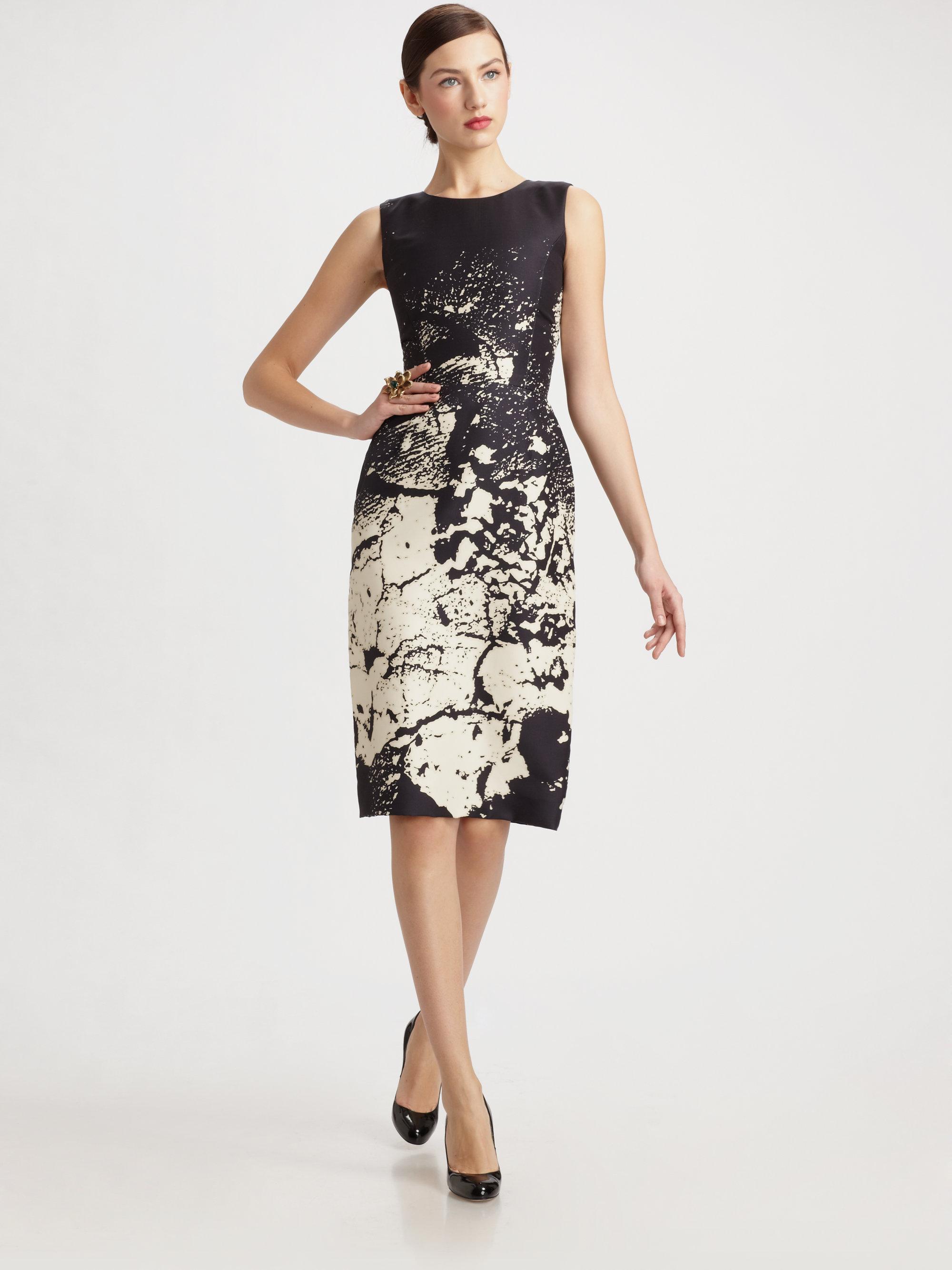 oscar de la renta printed silk sheath dress in black lyst. Black Bedroom Furniture Sets. Home Design Ideas
